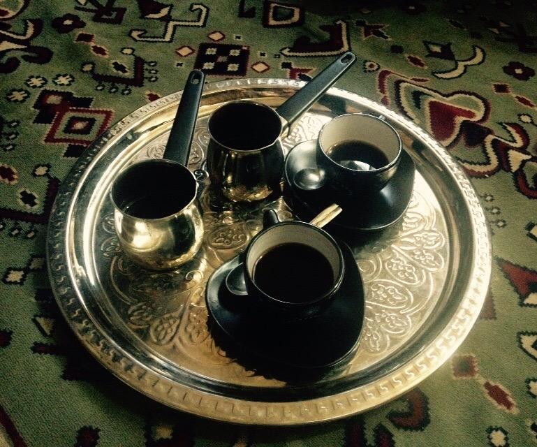 Post-dinner coffee at a wonderful Saudi restaurant in Abu Dhabi.