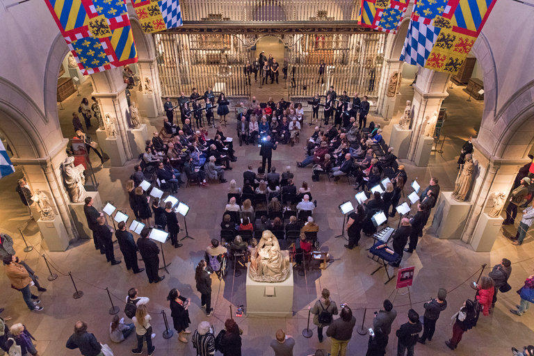 'Canticles of the Holy Wind' performed in the Met's Medieval Sculpture Hall (Richard Termine for The New York Times)