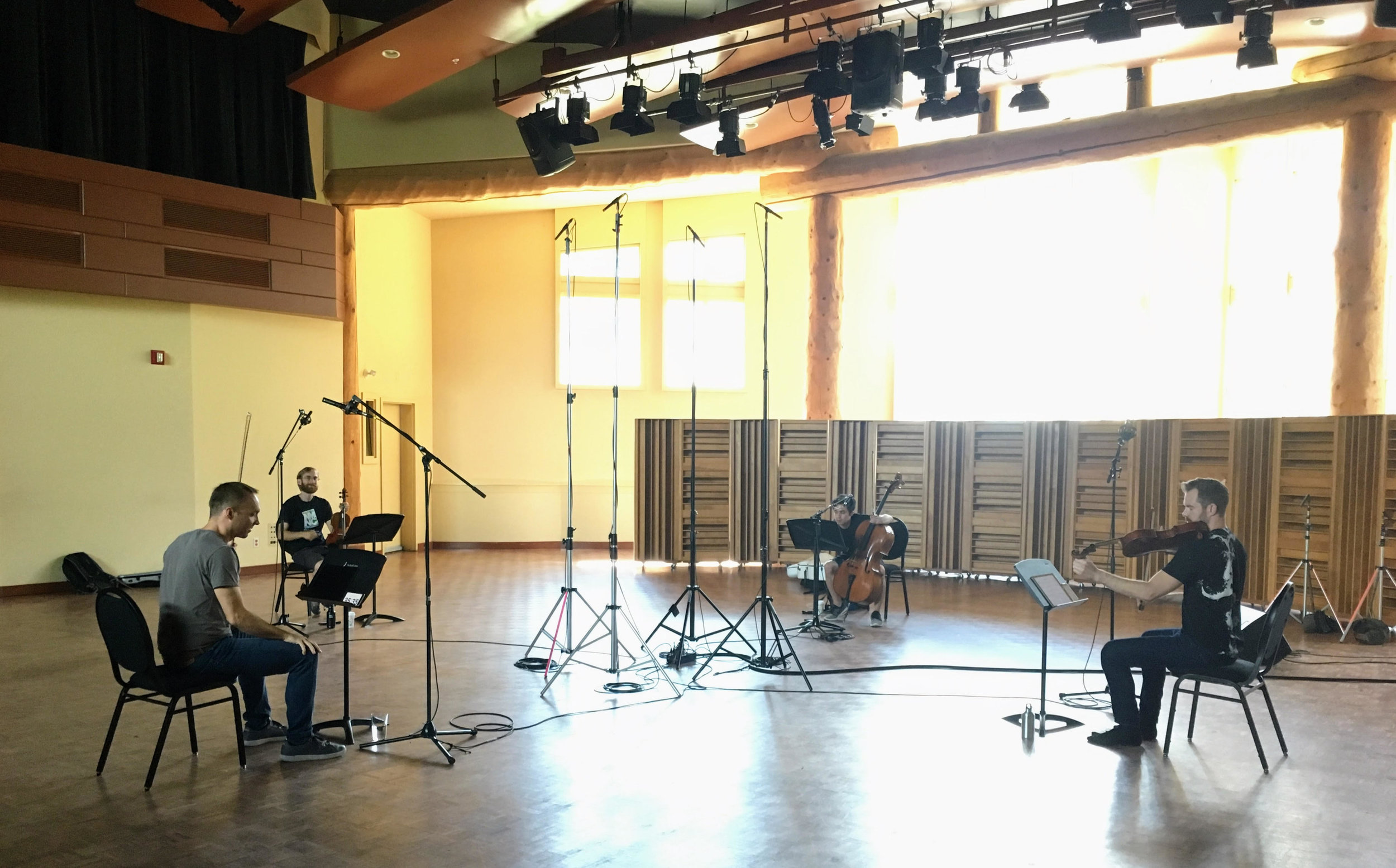JACK Quartet recording strings for 'Everything That Rises'