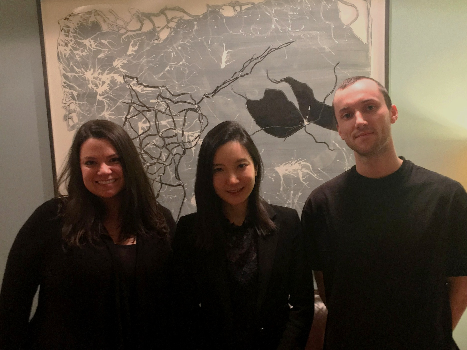 Pictured left to right: producer  Amanda Bloom  from Crossover Media, cellist  Hee-Young Lim , and Dubway engineer  Keenan DuBois  in the Dubway lobby after a day of interviews.