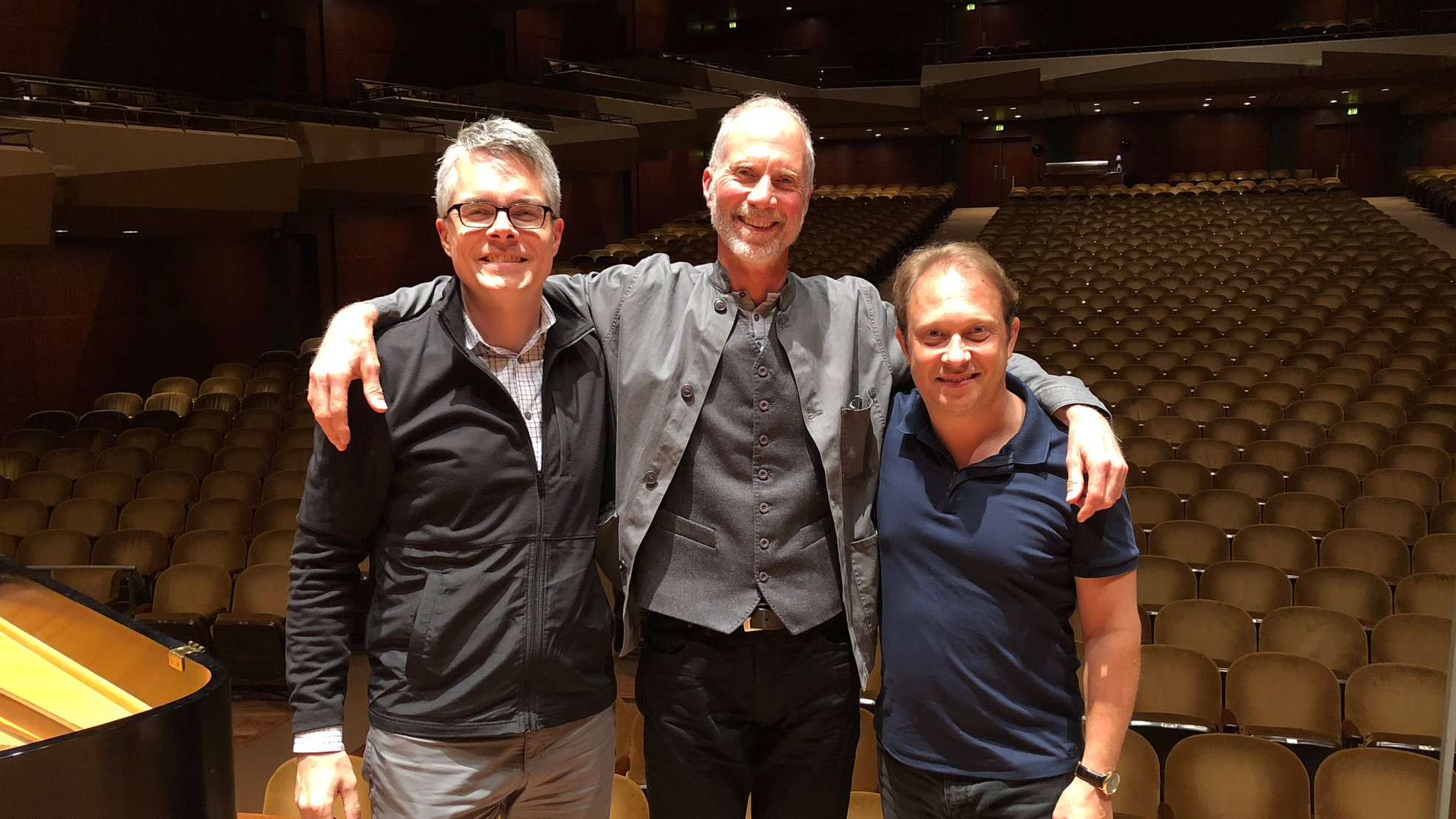 Nathaniel Reichman, John Luther Adams, and Ludovic Morlot at the recording location.