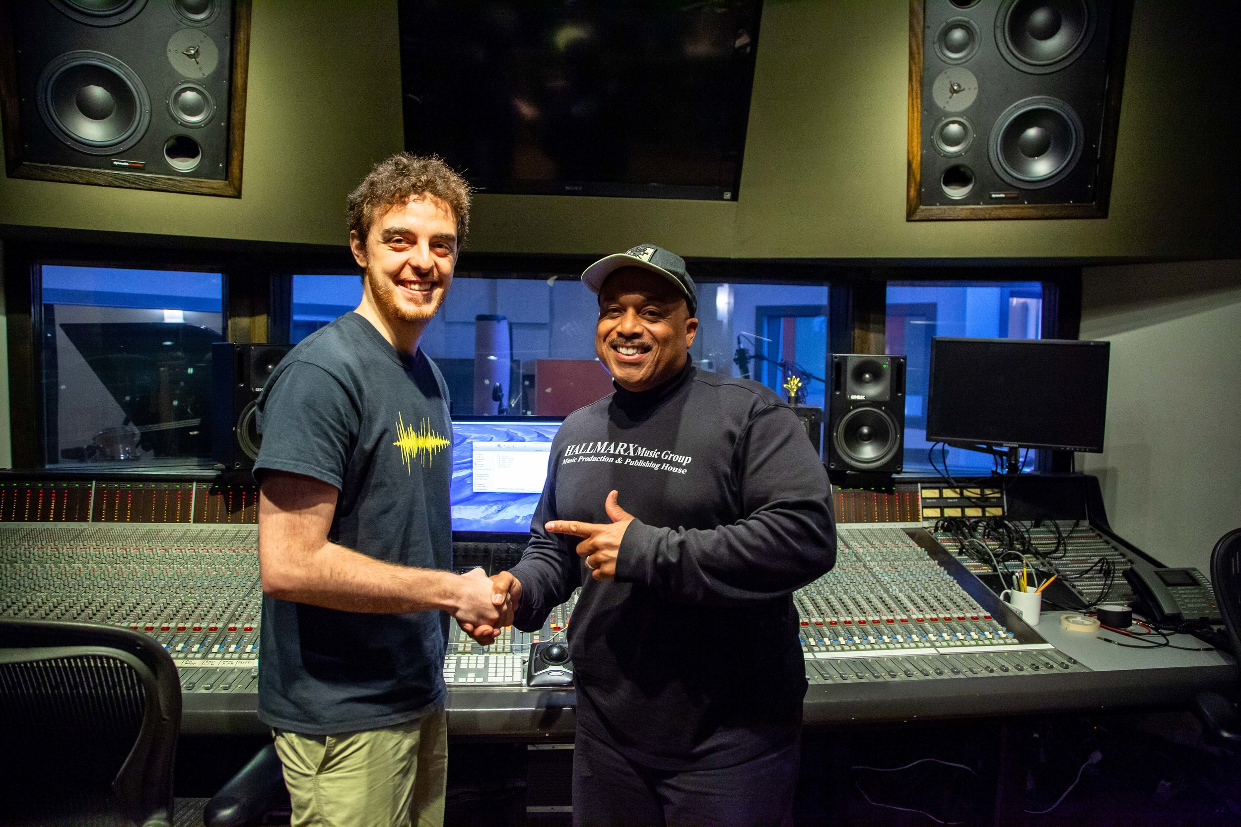 Dubway engineer Diego Demarco, left, with producer Raleigh Hall in our Mezzanine studio.