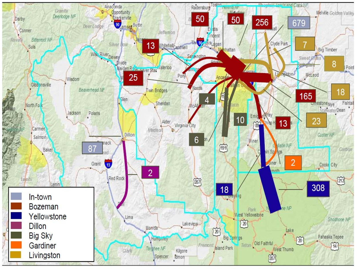 Commuter flow between and within different southwest Montana and Yellowstone communities. Click to enlarge image.