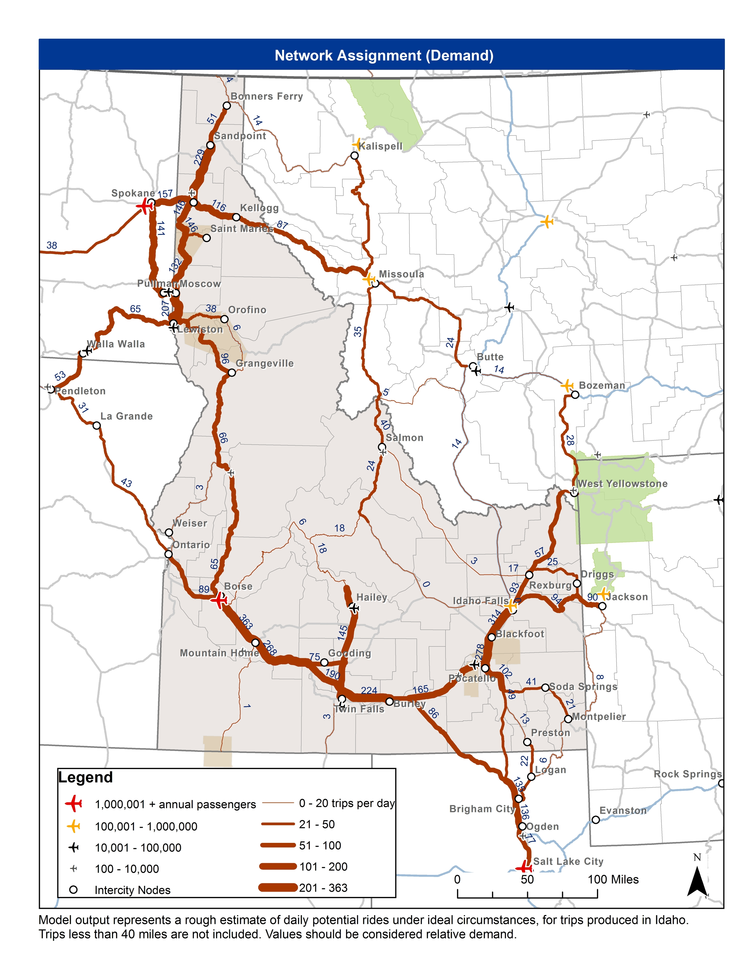 Demand modelling estimate of potential daily rides under ideal circumstances for trips produced in Idaho.