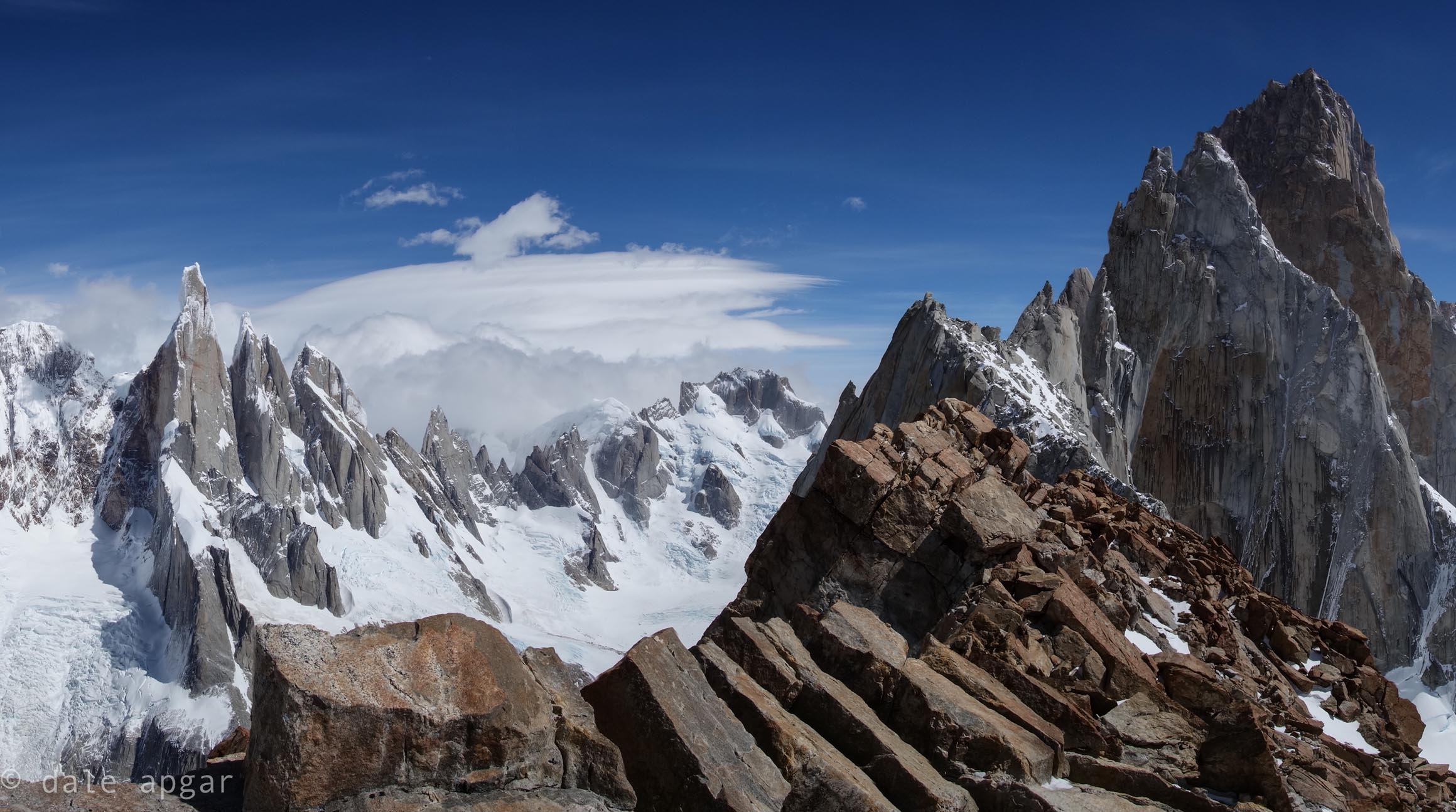 The view of the Torre and Fitz Roy Massifs from Mojon Rojo