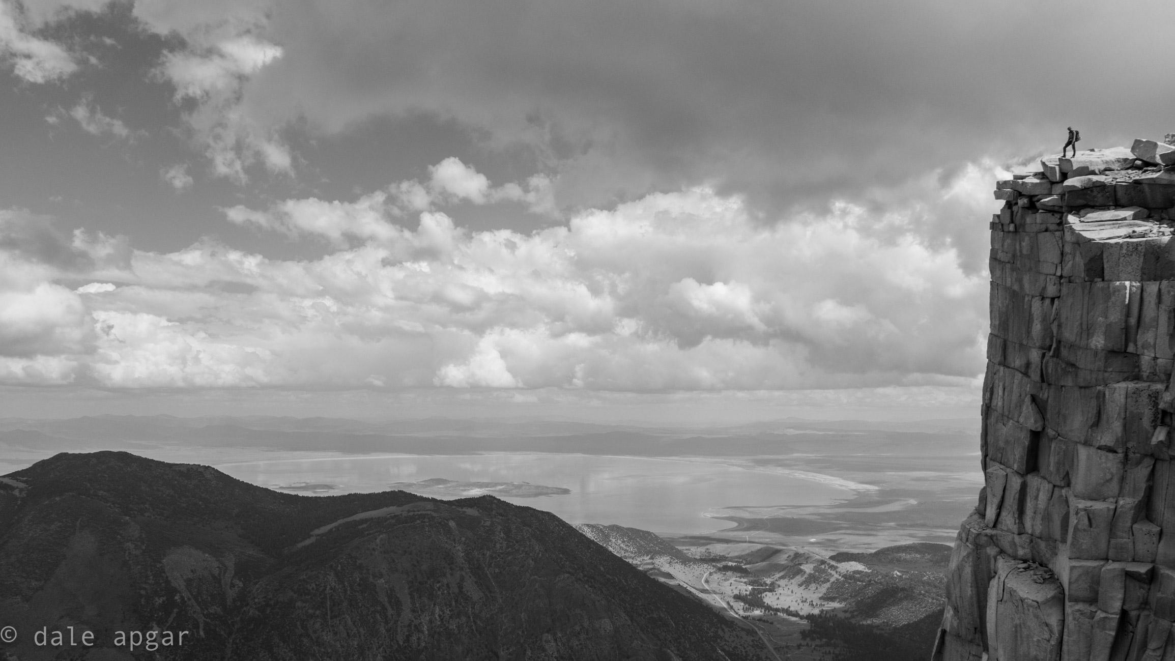 Gazing down towards Mono Lake from atop Dana's Third Pillar
