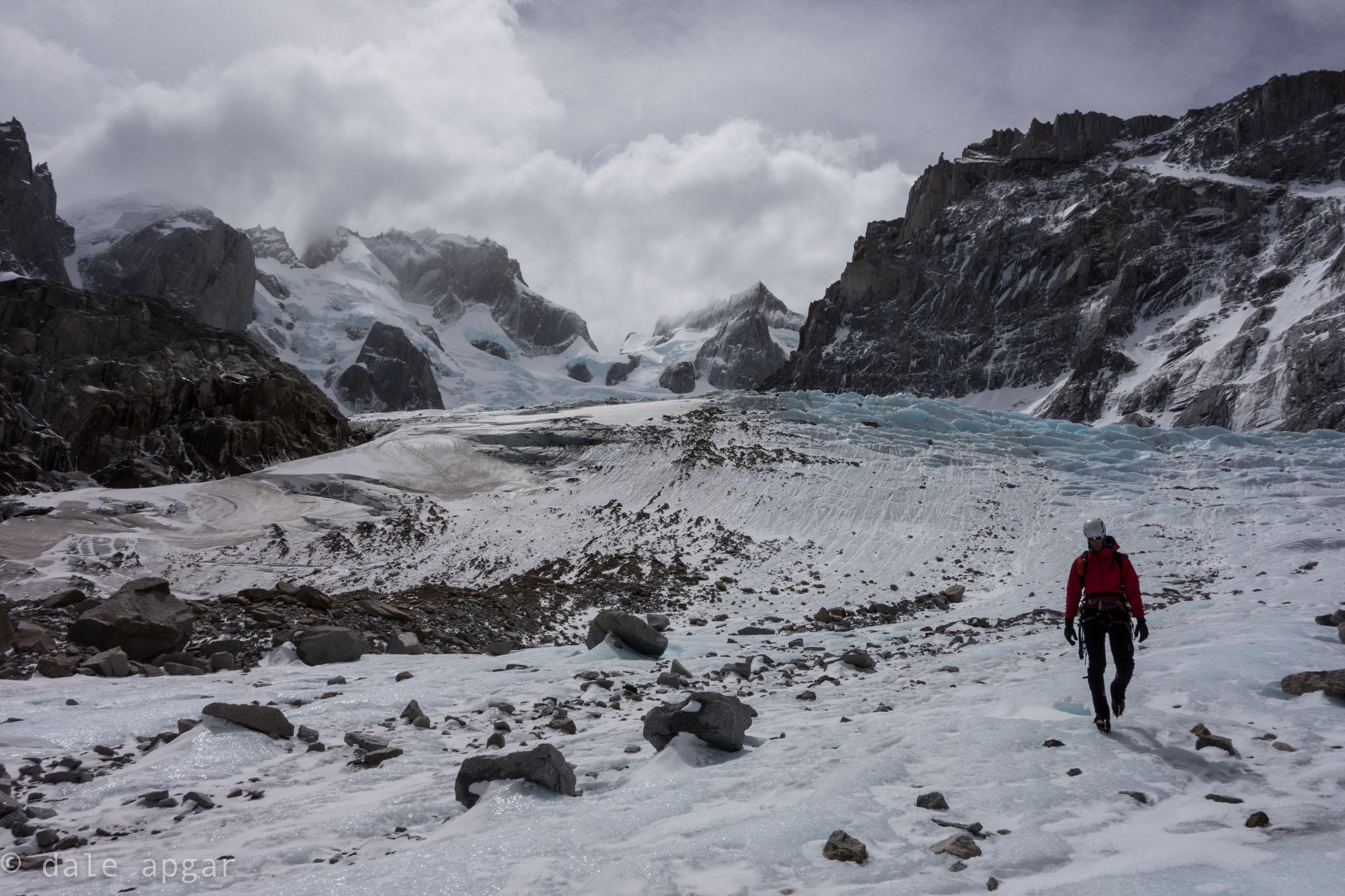 Descending along the Torre Glacier