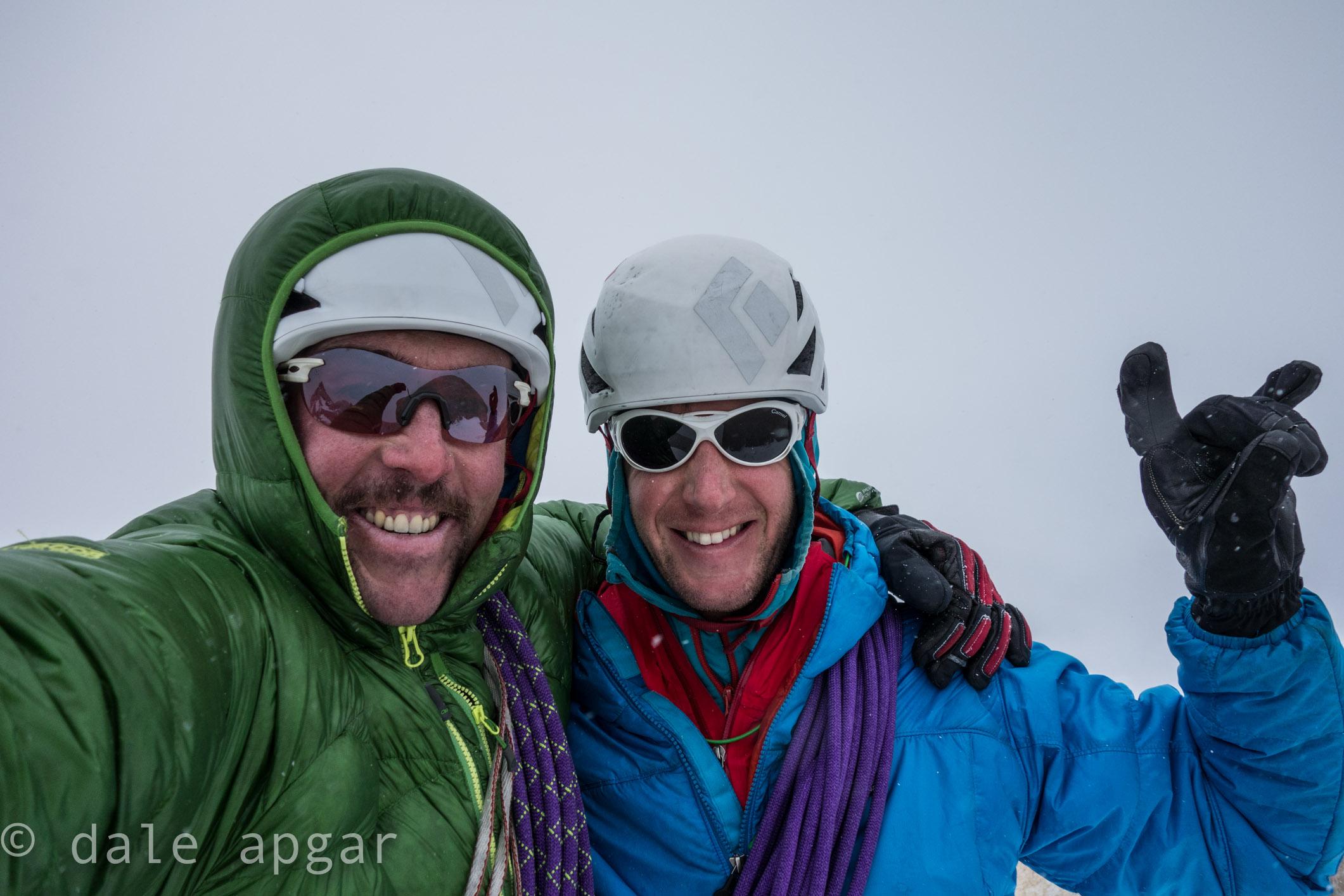 Celebrating a cumbre atop Aguja Guillamet
