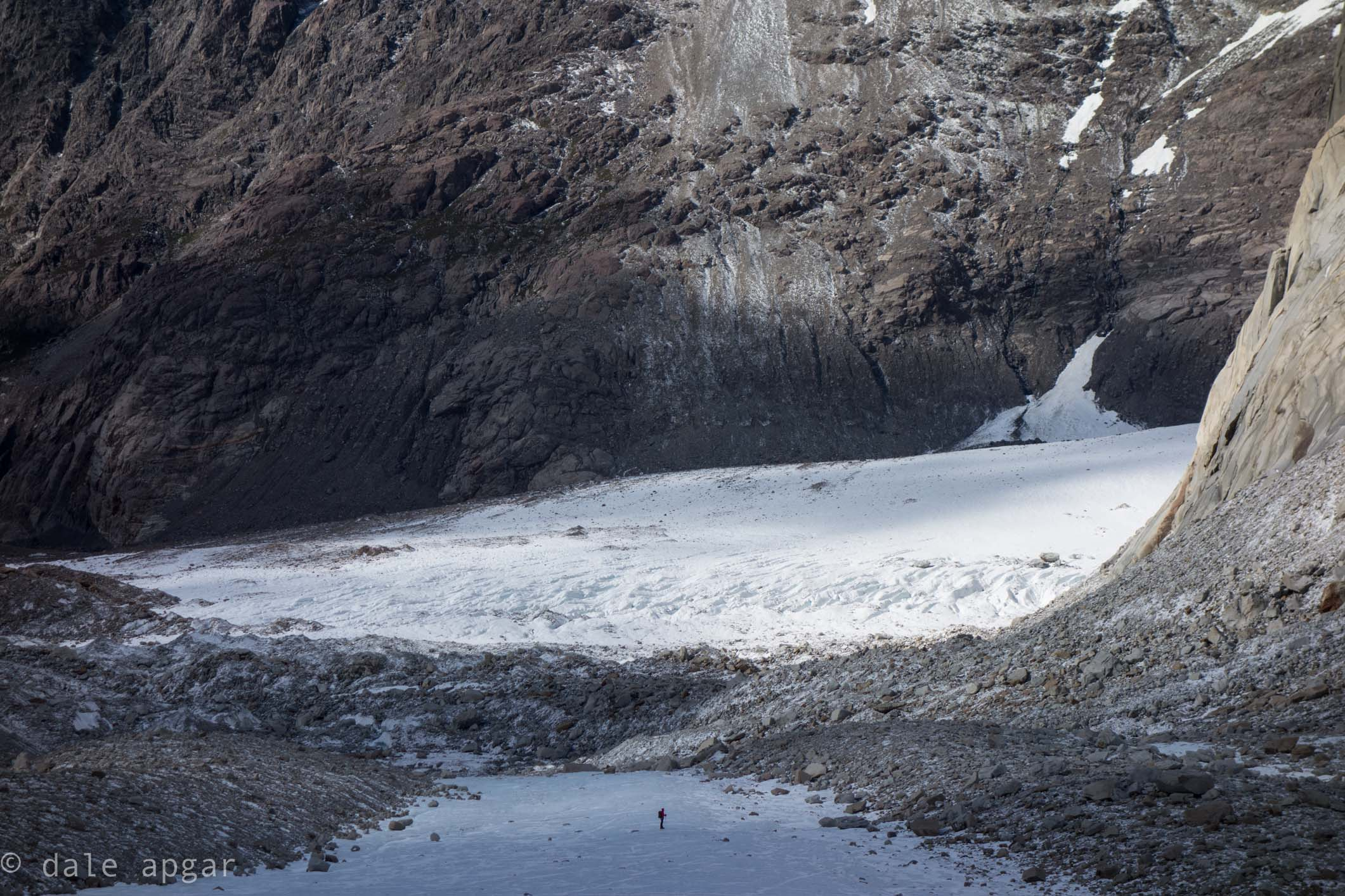 taking in the scale of the Torre Glacier and its surroundings