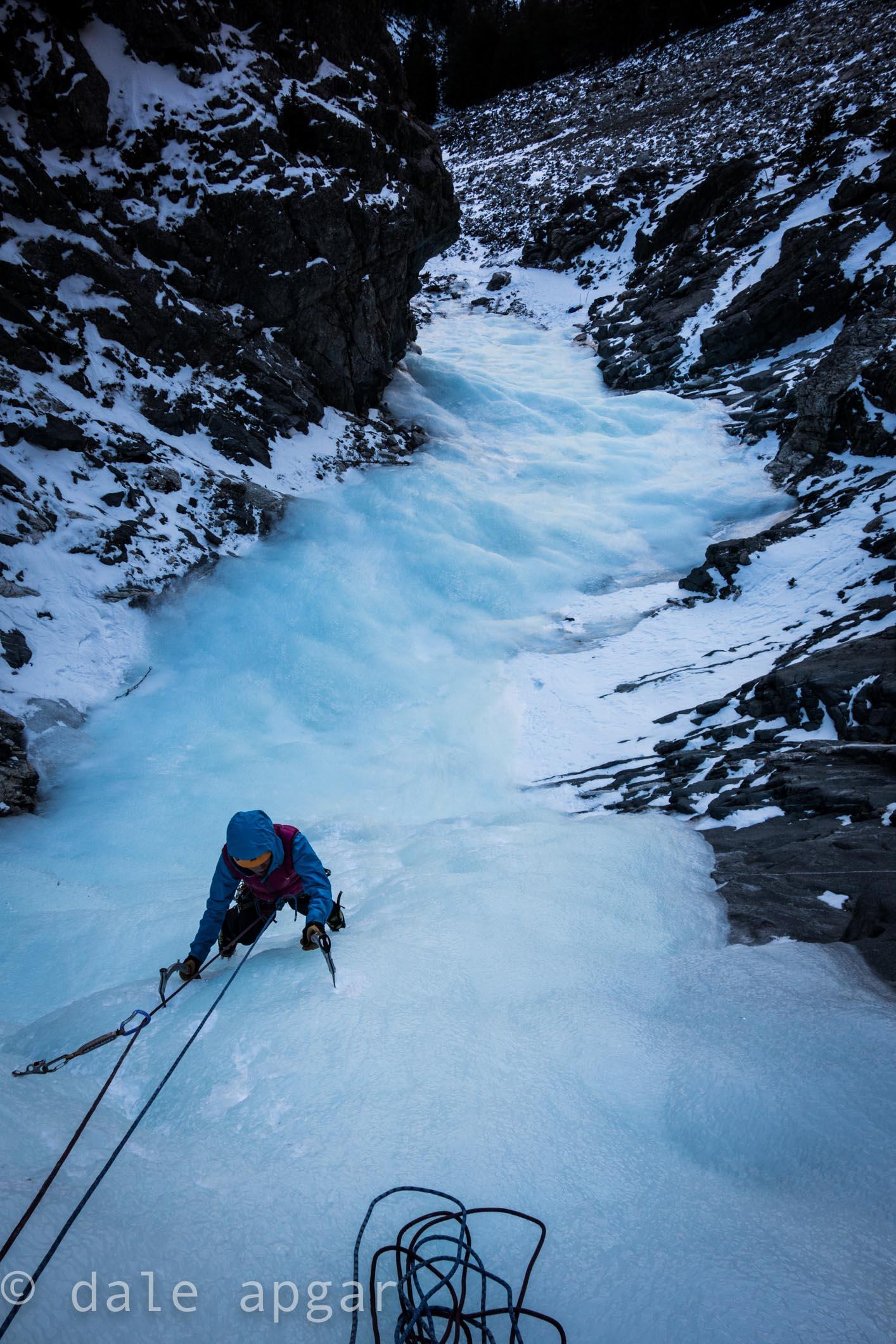 Lauren Smith exploring the backcountry ice flows on Montana's Beartooth Pass