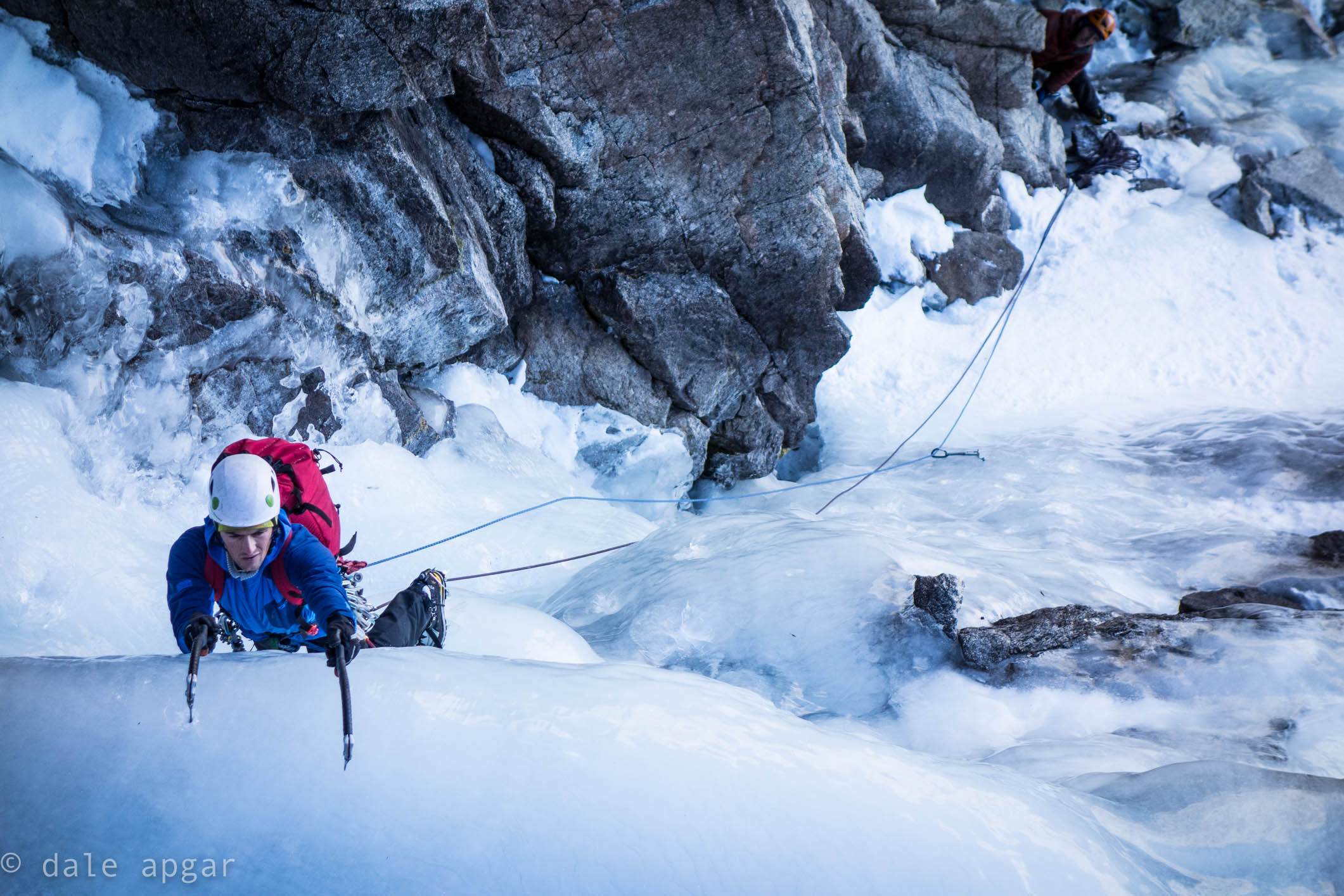 Ian McEleney tackling ice below the Whitney Massif