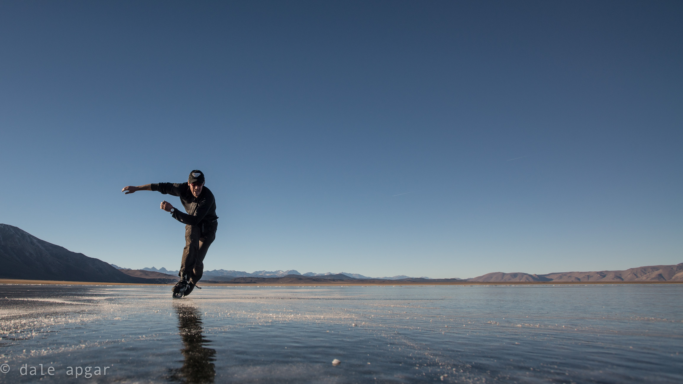 Even the horizontal ice is fun - Crowley Resevoir, CA