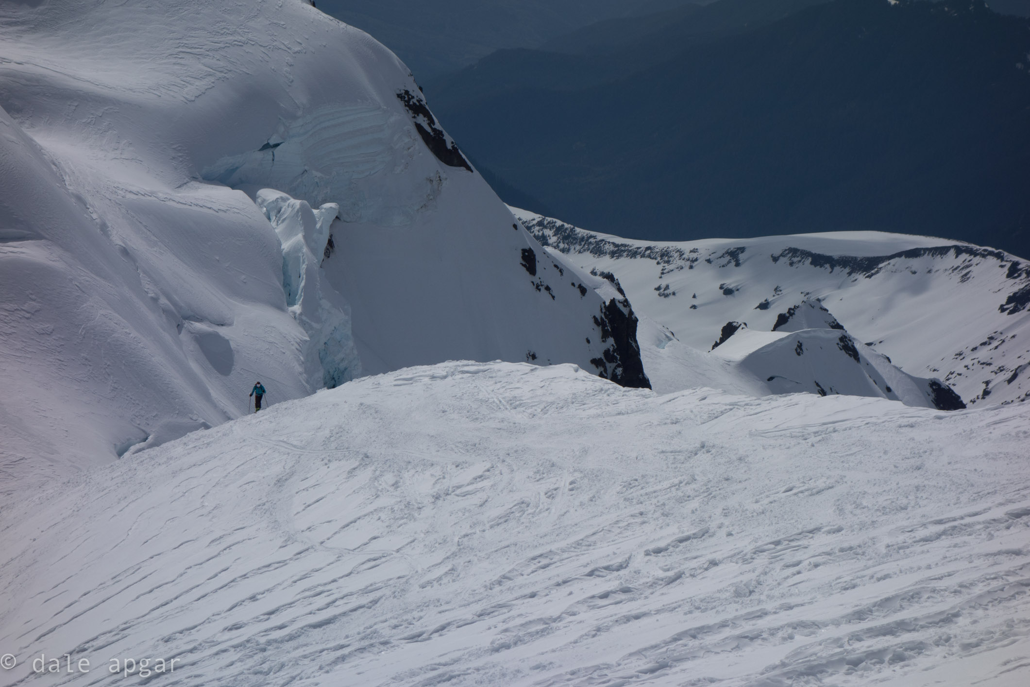 Jeffrey skiing up the Coleman-Demming route on Kulshan