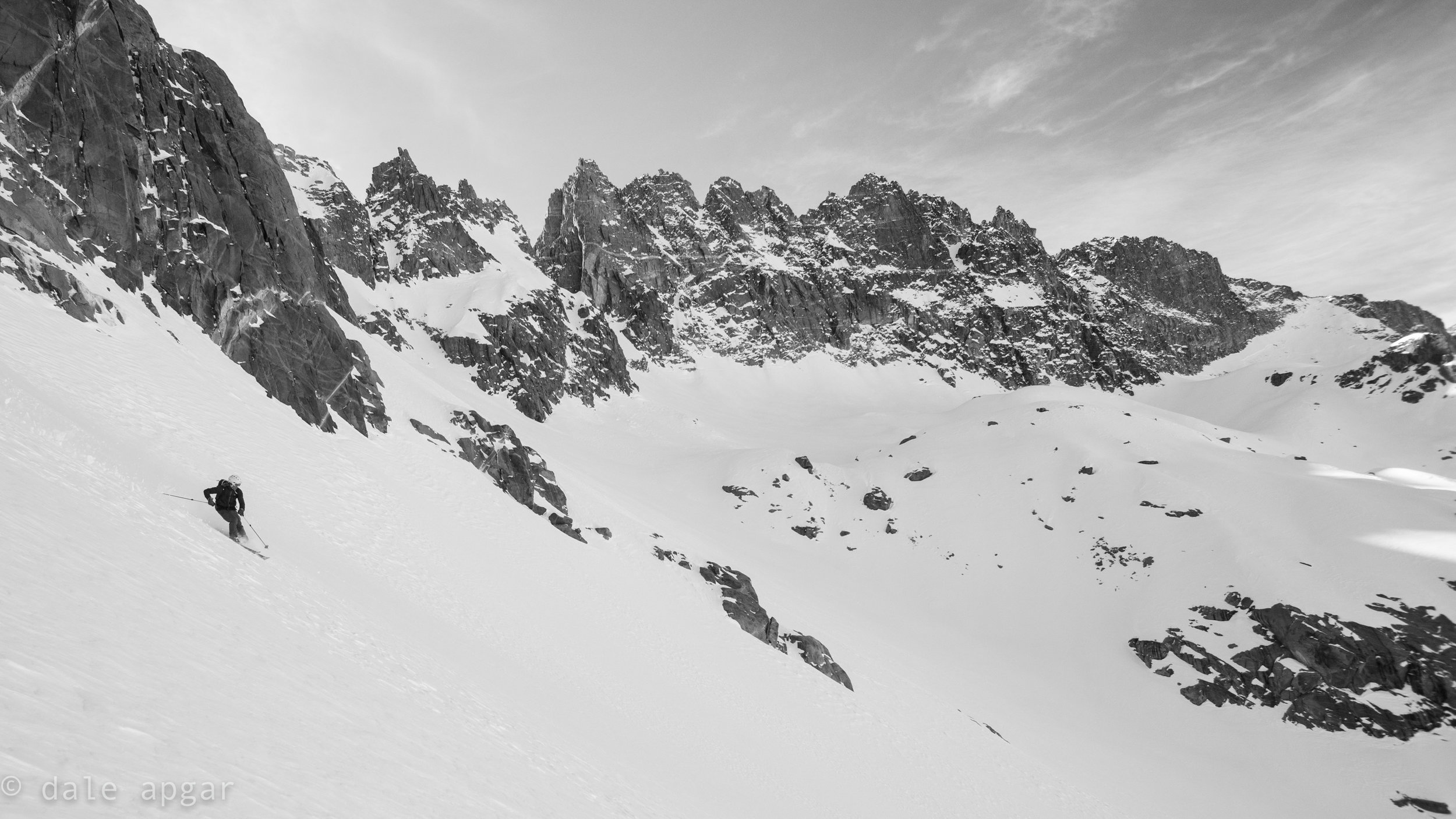 Putting tracks in the lower apron on Norman Clyde's North Couloir