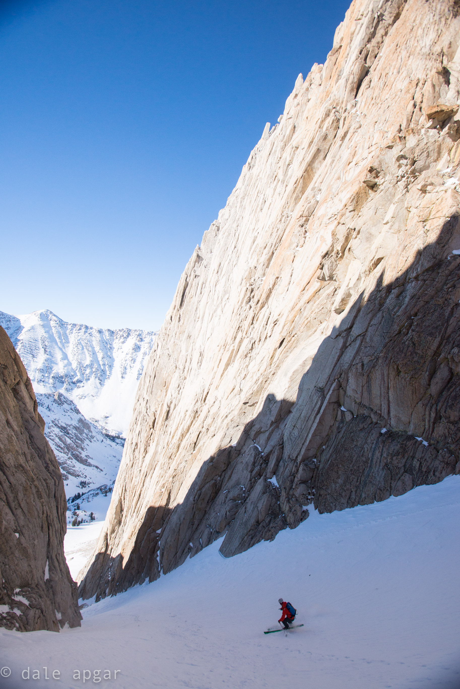 Owen, taking the first firm turns down the Incredible Hulk's Right Couloir.