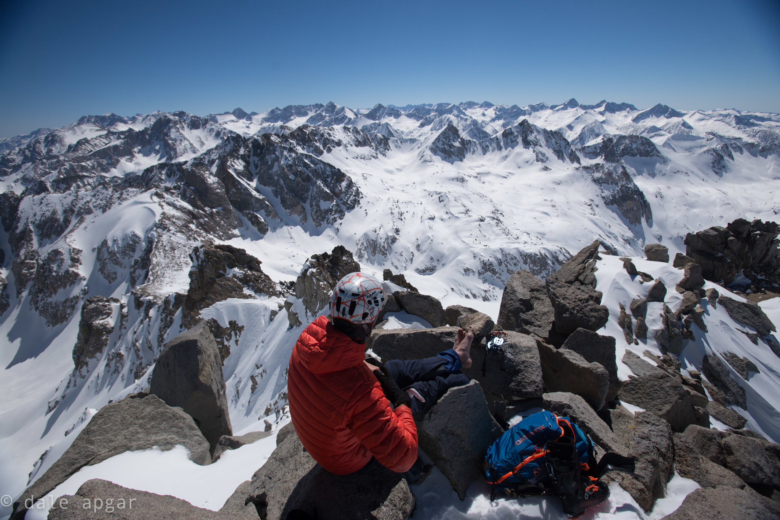 Ben, taking a barefoot break atop Black Peak.