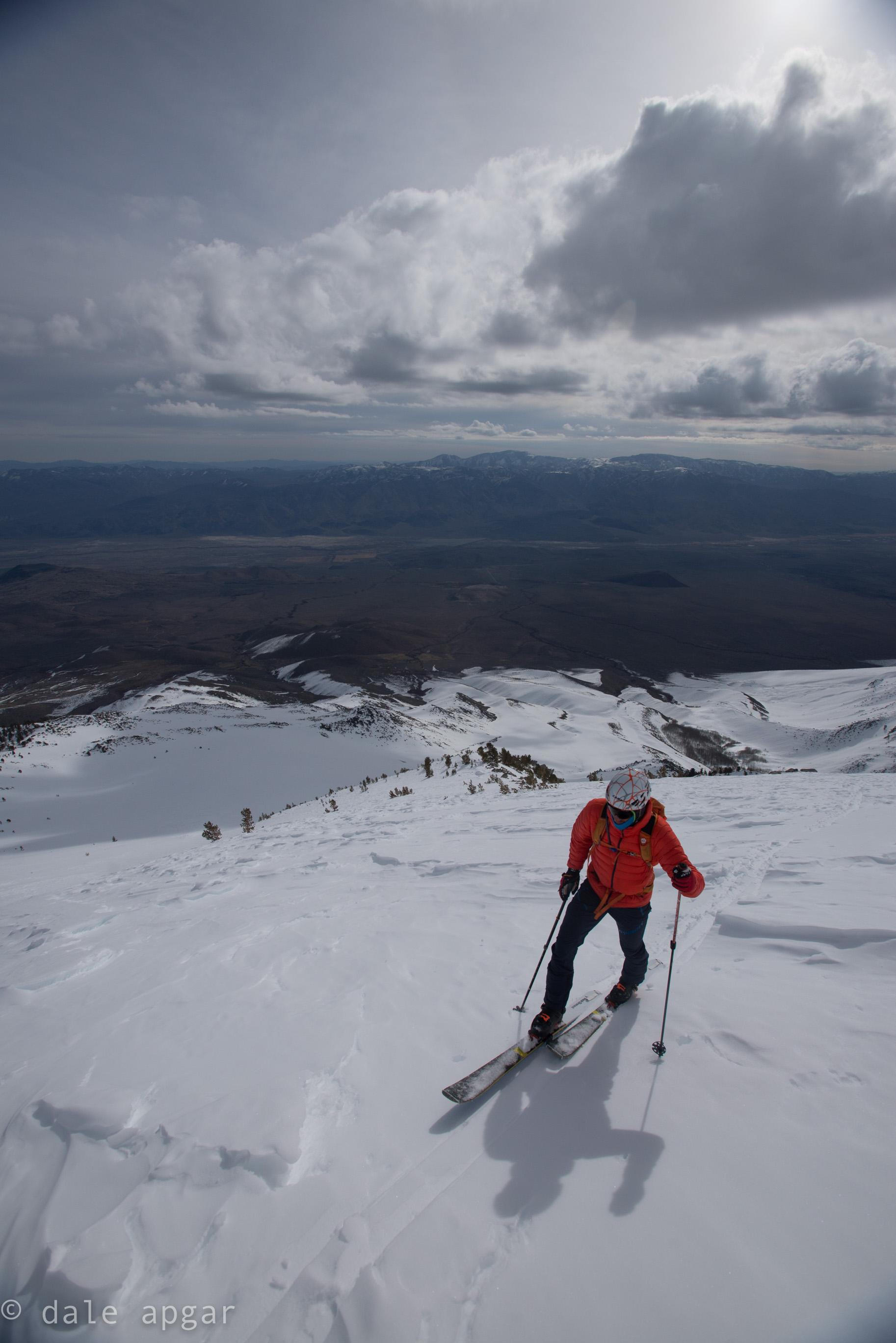 Ben, logging vert up the classic East Side volcano: Birch Mountain.