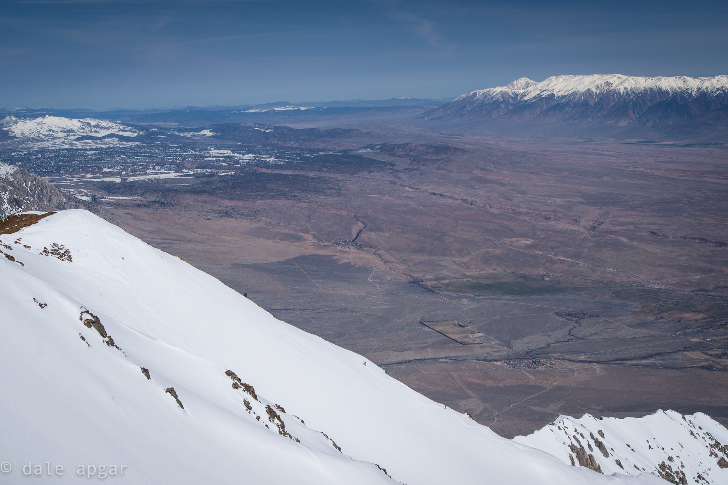 Skiers making progress on Winuba's East Chute