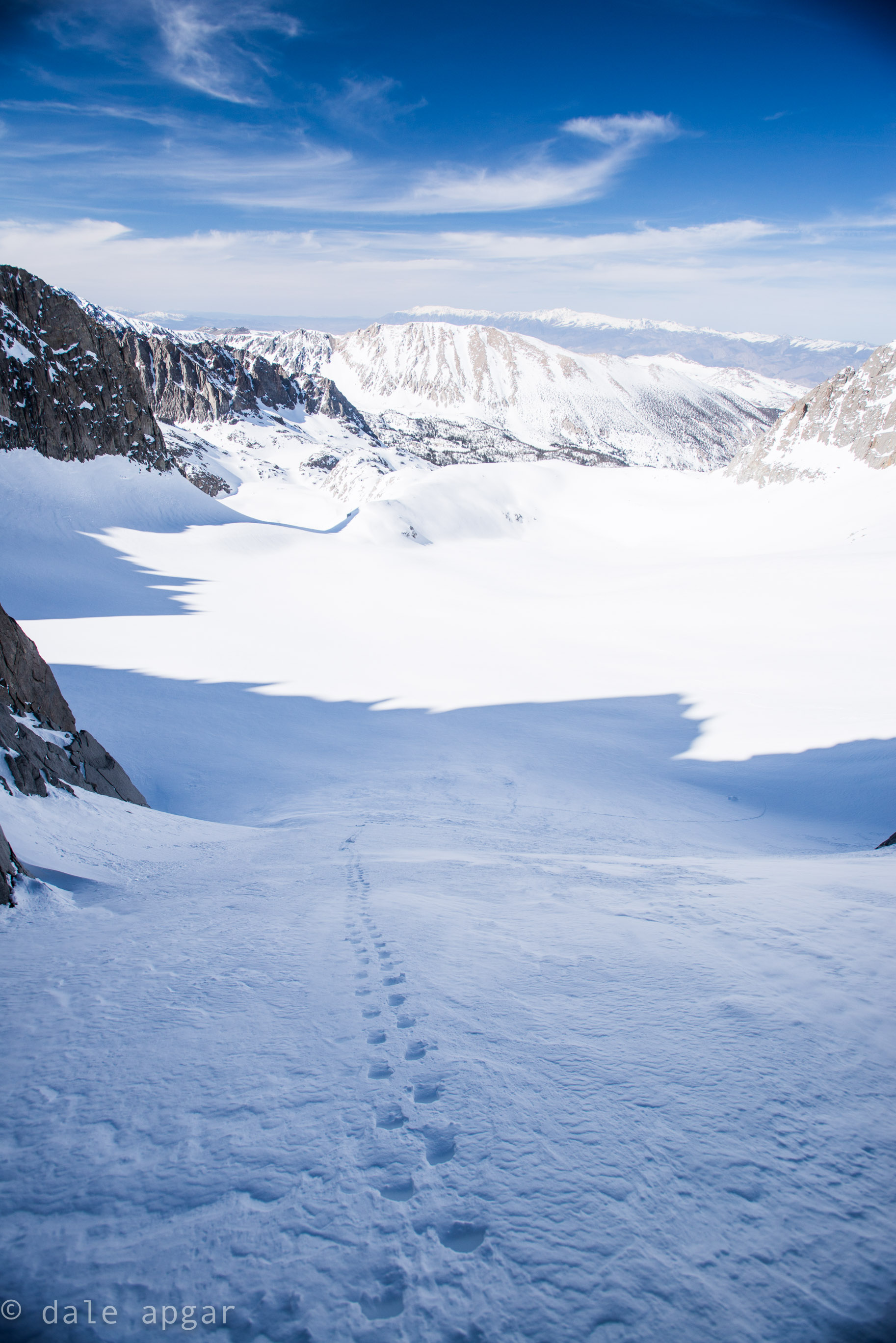 Boot pack up the lower reaches of the U-notch couloir