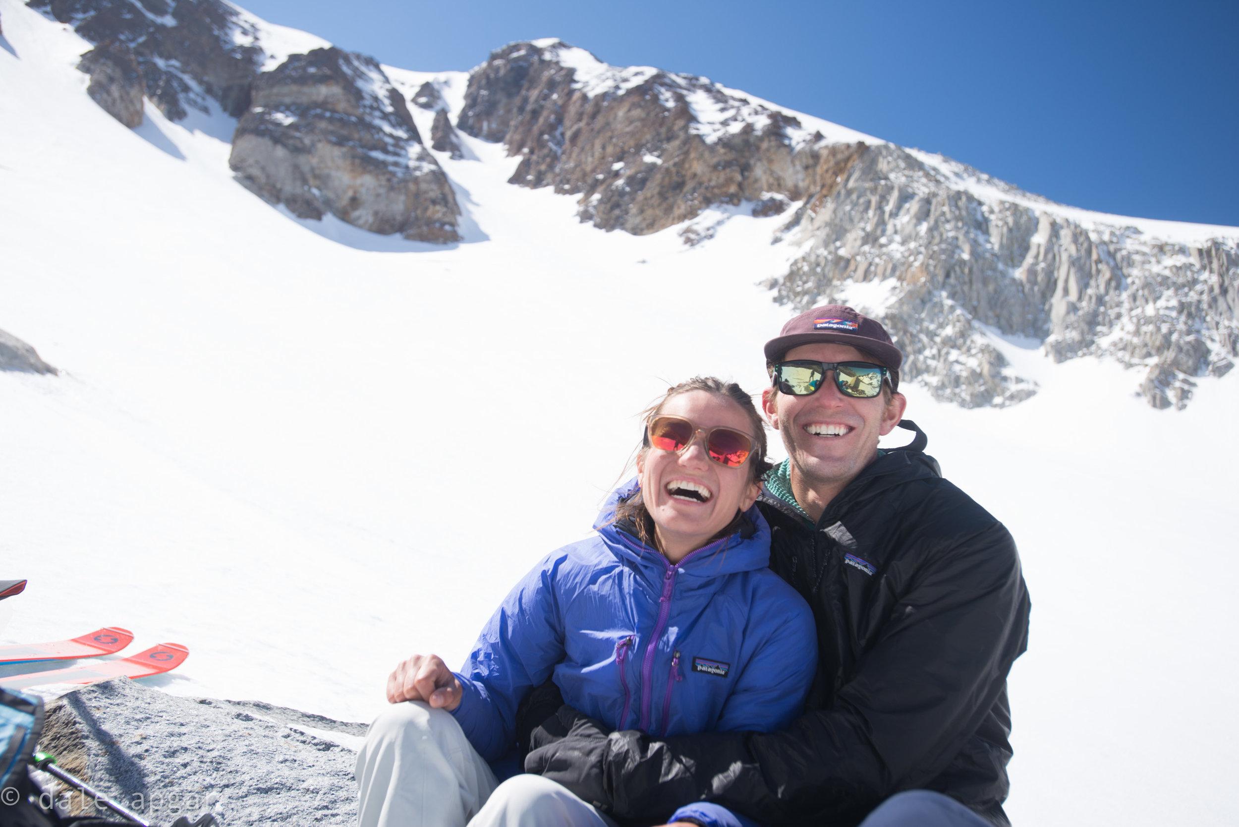 Romara and Linden taking a fun snack break low on Bloody Mountain.