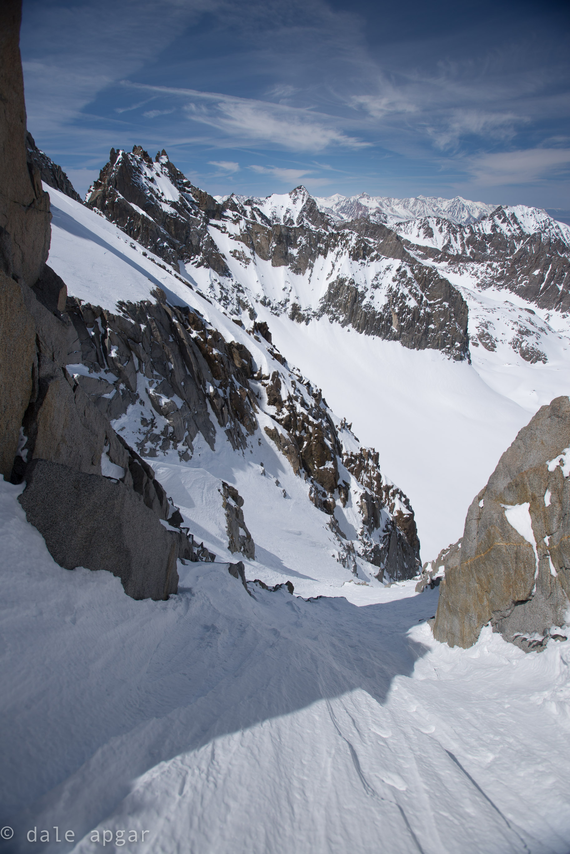 Staring down the V-notch couloir, I don't think I'll be up there again…and watch out for that Bergschrund  at the bottom.