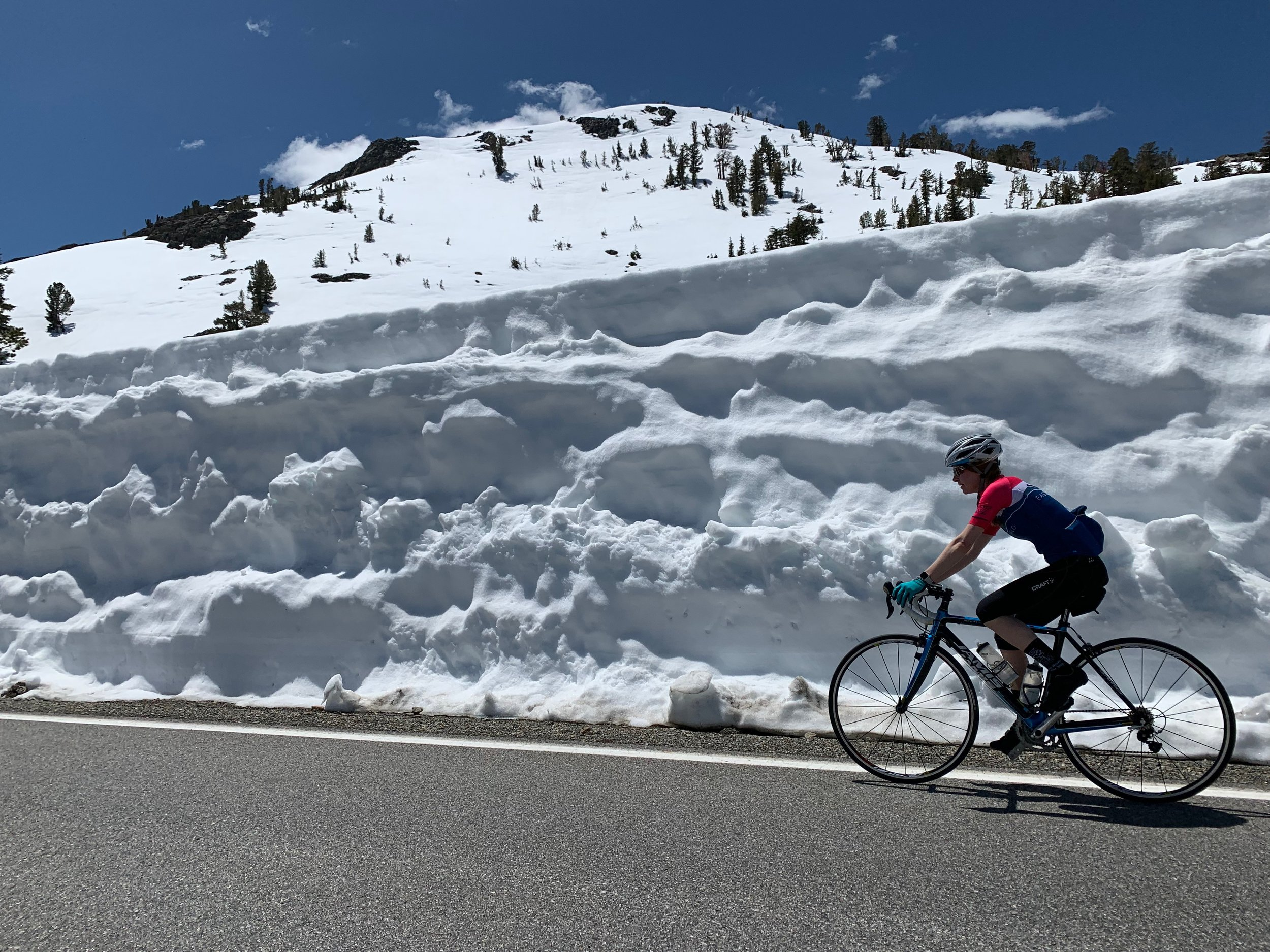 Kathryn, embracing the season change and taking advantage of the best opportunities available, like a lap on Tioga Pass in the relentless sun with nary a car in sight