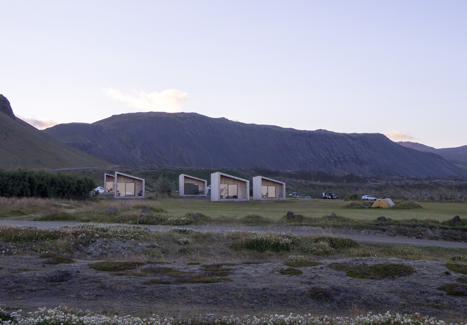 Modern cottages on the campground at Arnarstapi