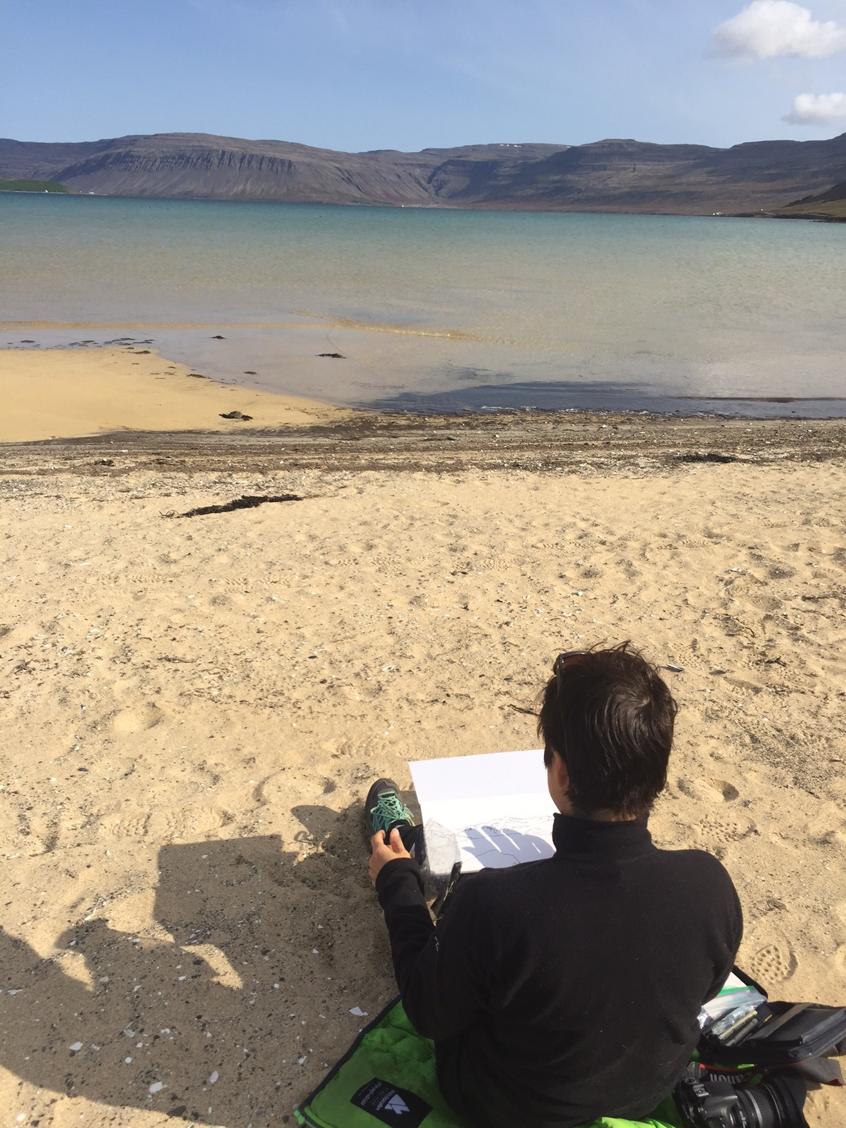 Had to stop at this deserted beach on the way our of Latrabjarg to do a little fjord sketching.  The colour od the water looks almost tropical.