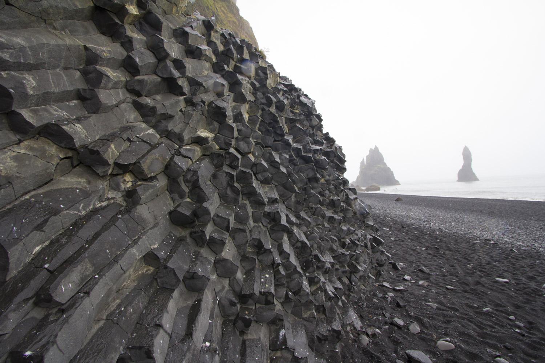 Columnal basalt at the black sand beach in Vik.