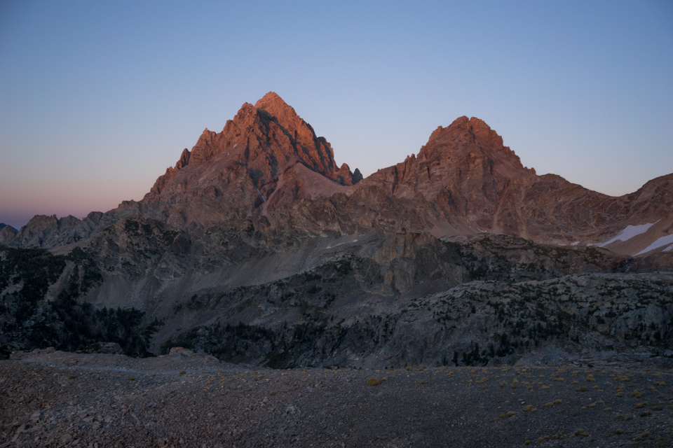 The last little bits of light, gracing the tips of the Tetons.