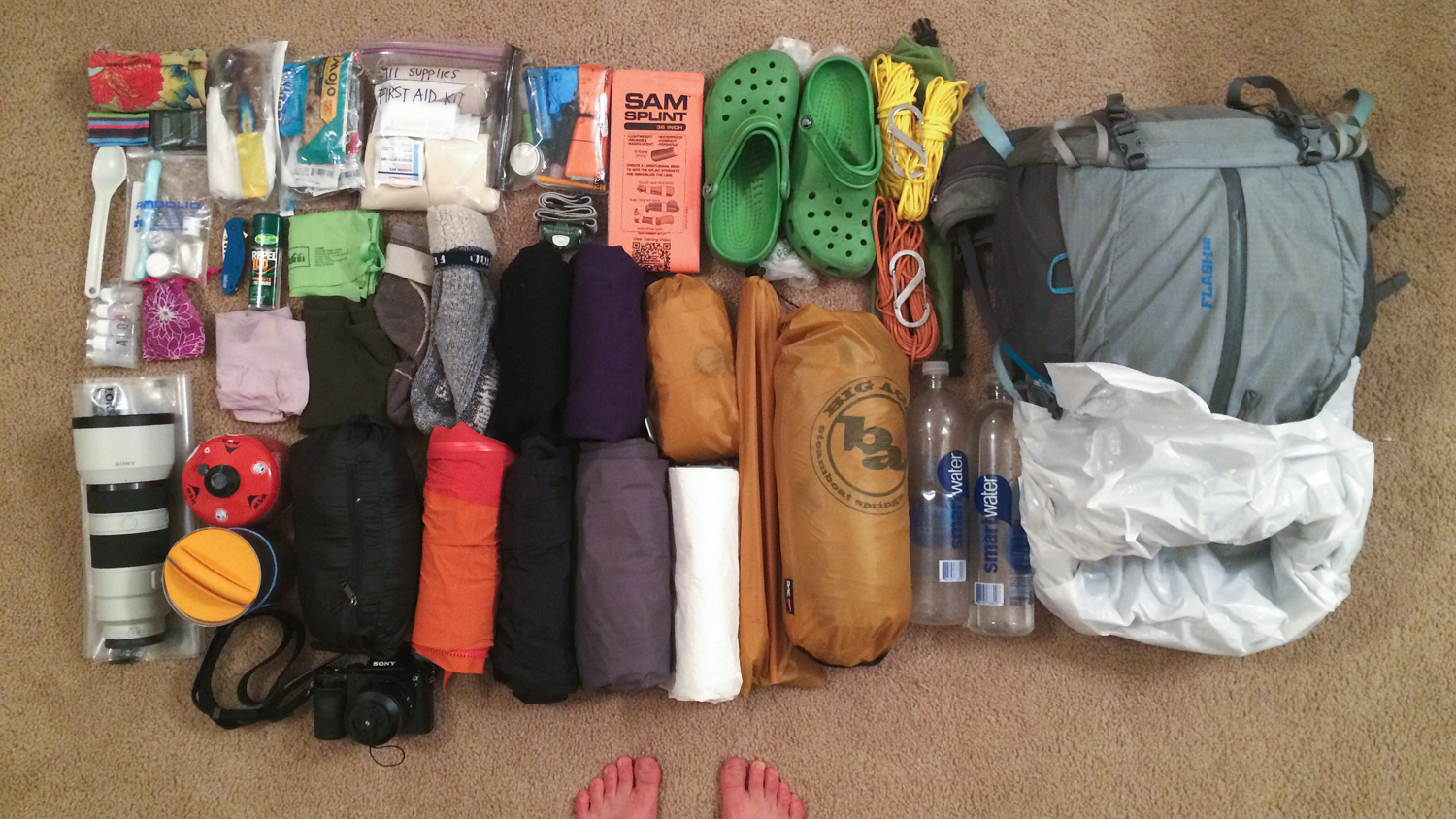 I took a few more things than I would on a solo tripsince we were a group of seven. Some new things I've added to my overall pack weight include: more robust first aid kit, survival kit, and 911 food.My pack was heavier than normal, but overall it was still quite manageable.