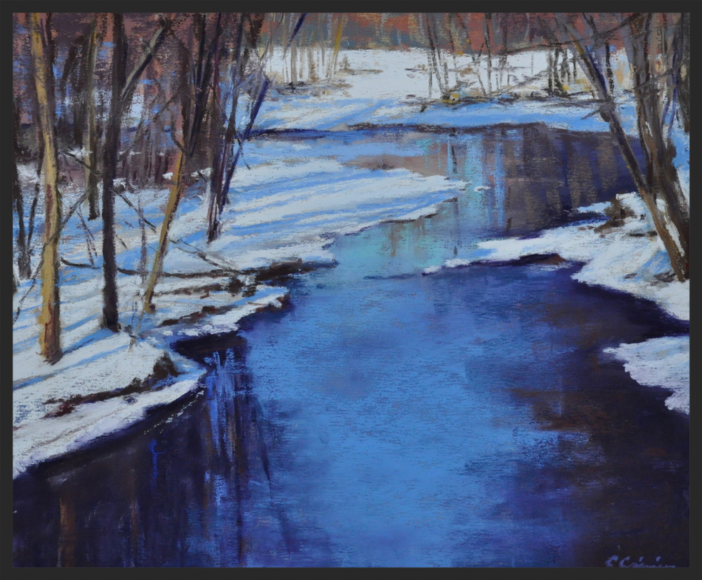 Cynthia Crimmin, Fort Pond Brook, 14x11, pastel on panel in black frame