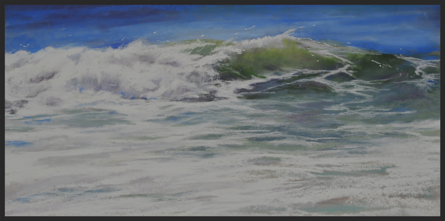 Cynthia Crimmin, Gossamer Tides, 24x12, pastel on panel in silver frame