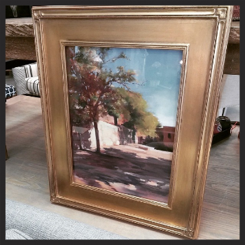 Cynthia Crimmin, Street scenet, pastel on panel in gold frame