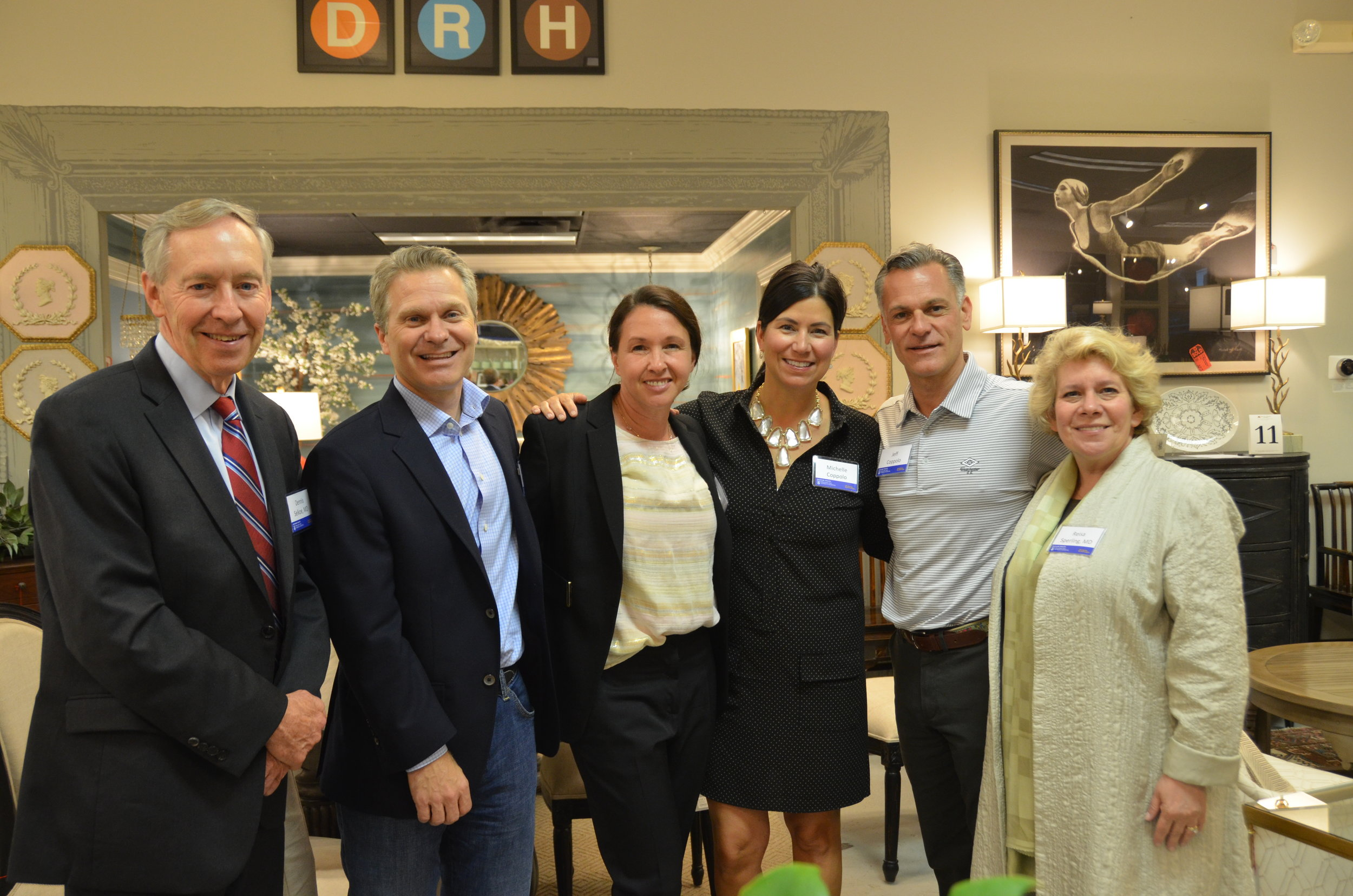 From Left to Right:  Dr. Dennis Selkoe, MD, Matt and Jenna Vettel (founders of the Alzheimer's Innovation Fund), Michelle and Jeff Coppolo (owners of Darby Road HOME), and Dr. Reisa Sperling, MD.