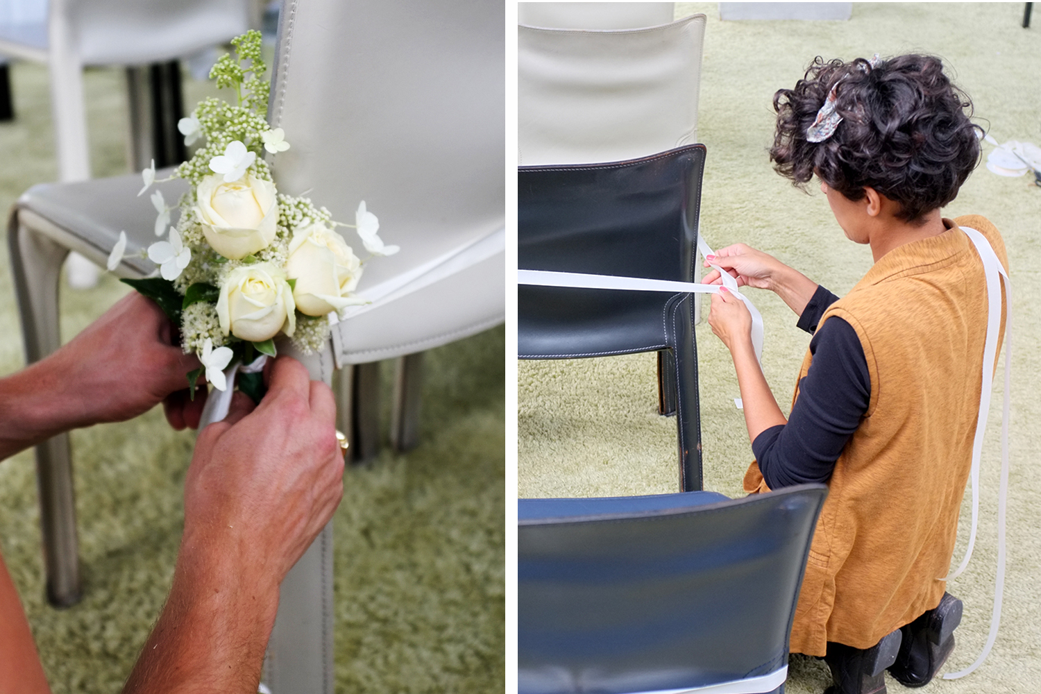 Cream-coloured roses with Hydrangea added a pretty touch to the guest chairs at the ceremony
