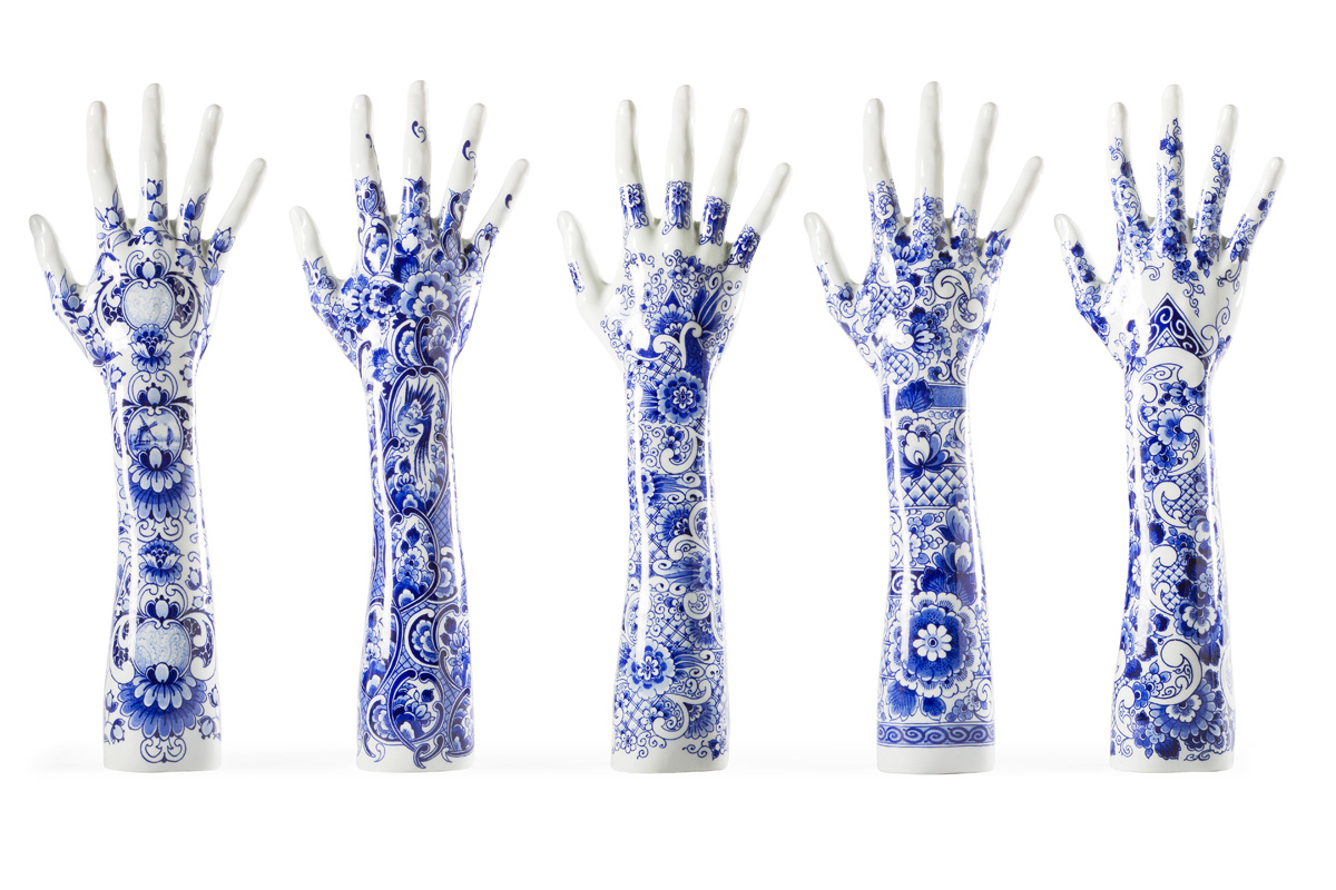 'Fragile Fingers' were designed for Marcel Wanders for the hands and arms of world-renowned Dutch pianist,  Iris Hond . Image: Marcel Wanders