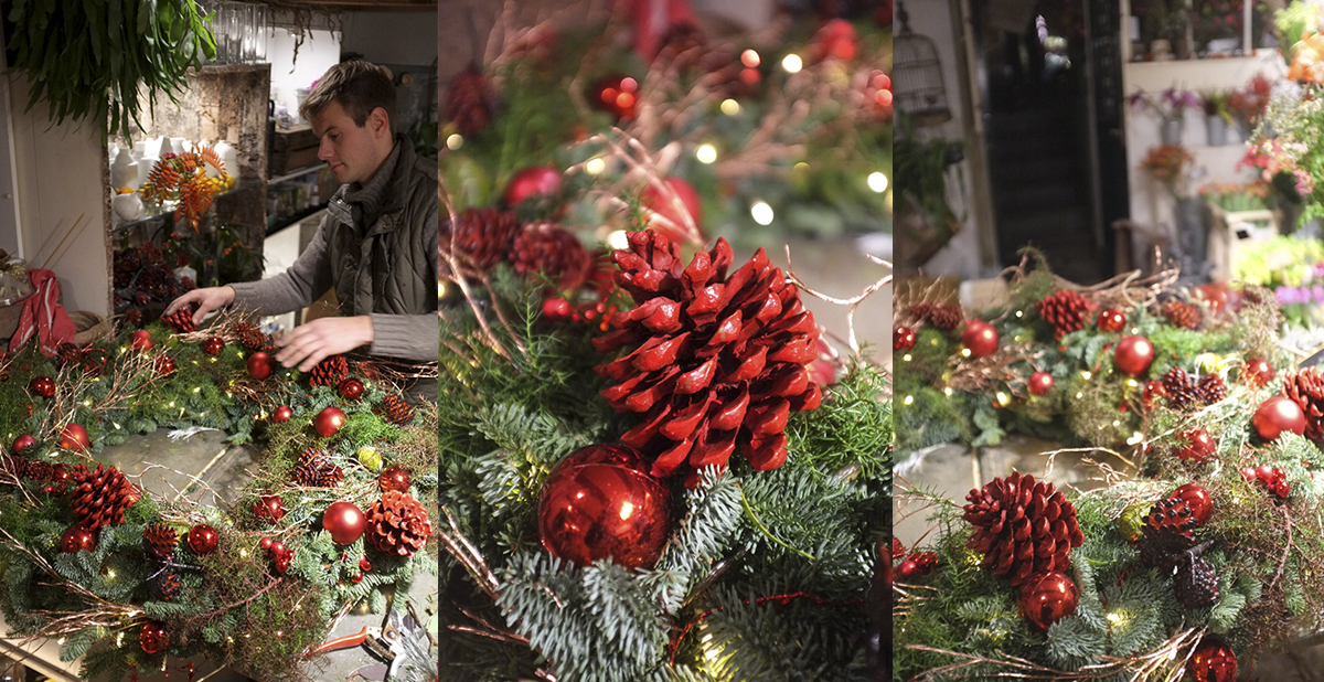A.P Bloem, Florist, Bloemist, Bloemwinkel, Amsterdam, Wreath, Krans, Kerst, Christmas, Brug 34, Utrechtsestraat, Cafe
