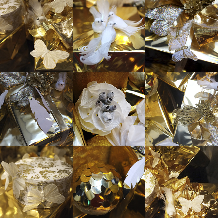 A.P Bloem Amsterdam Prinsengracht Andaz hotel Florist Bloemist Kerst Christmas Decoration etalage Kerstboom Bow Ribbon Marcel Wanders golden christmas gifts presents butterflies, birds