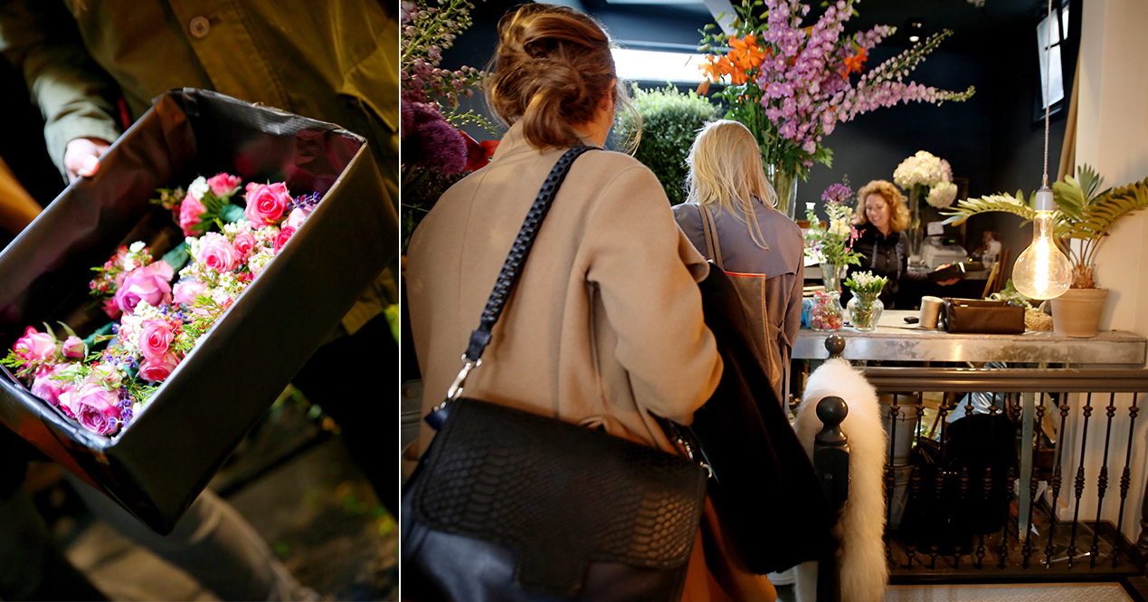 The girls enter our florist to present the surprise  Image:Vincent Grassegger