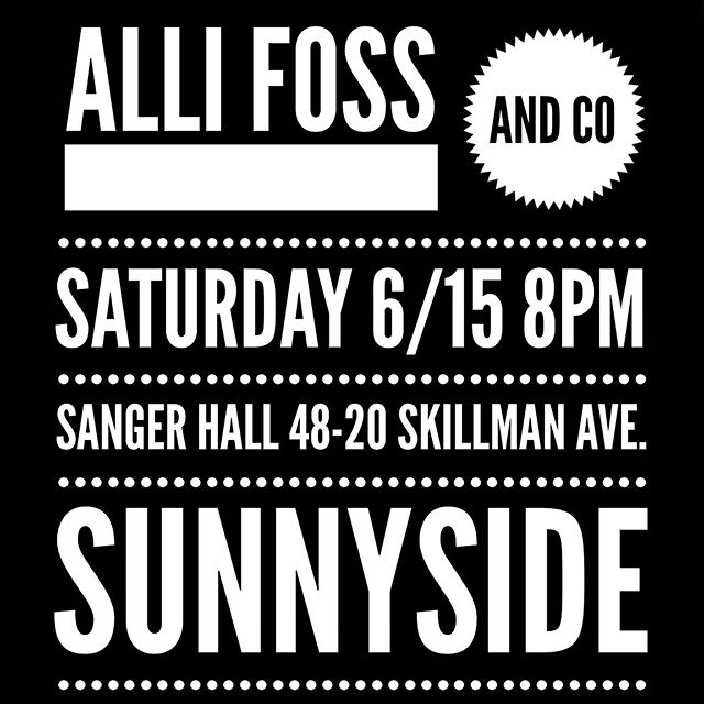 It's happening again! This time in Sunnyside! This Saturday night at 8pm we have the pleasure to gig at @sangerhall. Queens baby! Can't wait to see you there. 8pm.  #sangerhall #livemusic #allifoss #queens #sunnyside