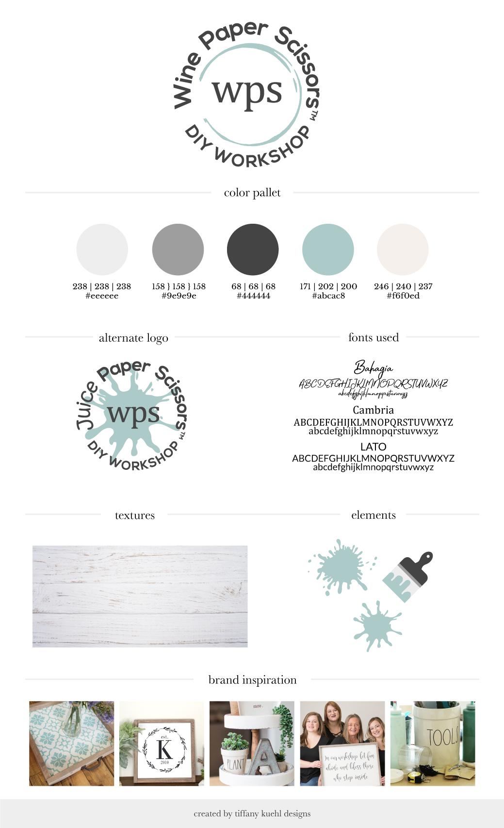 Wine Paper Scissors Brand Board | Tiffany Kuehl Designs