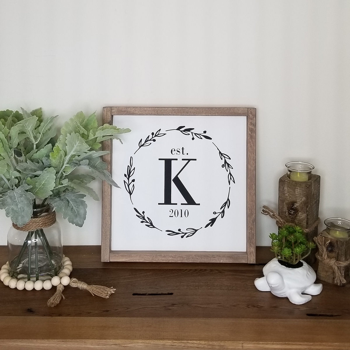 Monogram Initial with Wreath  | Wine Paper Scissors Make It For Me