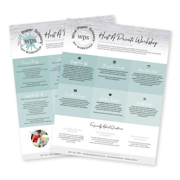 Wine Paper Scissors Flyers | Tiffany Kuehl Designs