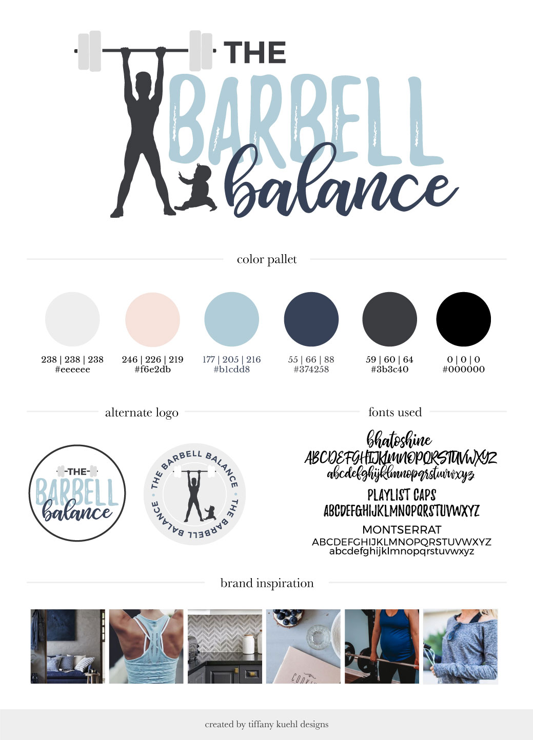 The Barbell Balance Brand Board | Tiffany Kuehl Designs  Terrell Baldock a busy mom with 3 kids and married for almost 12 years. She grew up in a household where weight was always an issue and unhealthy habits were a part of her norm. That's a cycle she hopes to break for not only her family, bot many other families out there. Terrell works with women to empower them to love their bodies on the inside out. Her ideal client is a new or second-time mom who is looking for a healthier approach to fitness during/after pregnancy. She is someone who has an active history but is experiencing issues with her pelvic floor. She is looking to regain her previous abilities without these issues. #postnatalfitness #prenatalfitness #healthymom #healthyfamily #fitnessbranding #fitnessbrandboard #brandboard   www.thebarbellbalance.com