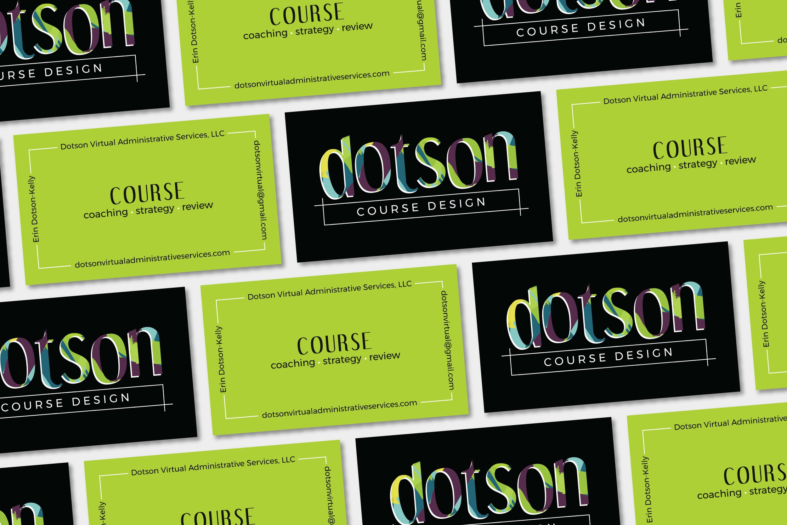 Dotson Course Design Business Cards | Tiffany Kuehl Designs  How fun are these business cards! The design is pretty simple, but the colors are unforgettable!  #coursedesign #coursecreation #branding #logo #logodesign #brandstylist #branddesigner