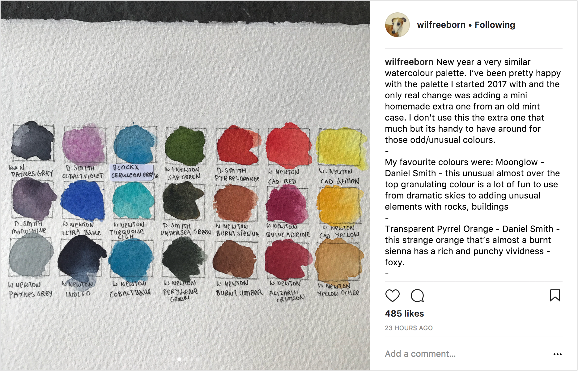 Wil Freeborn's instagram swatches