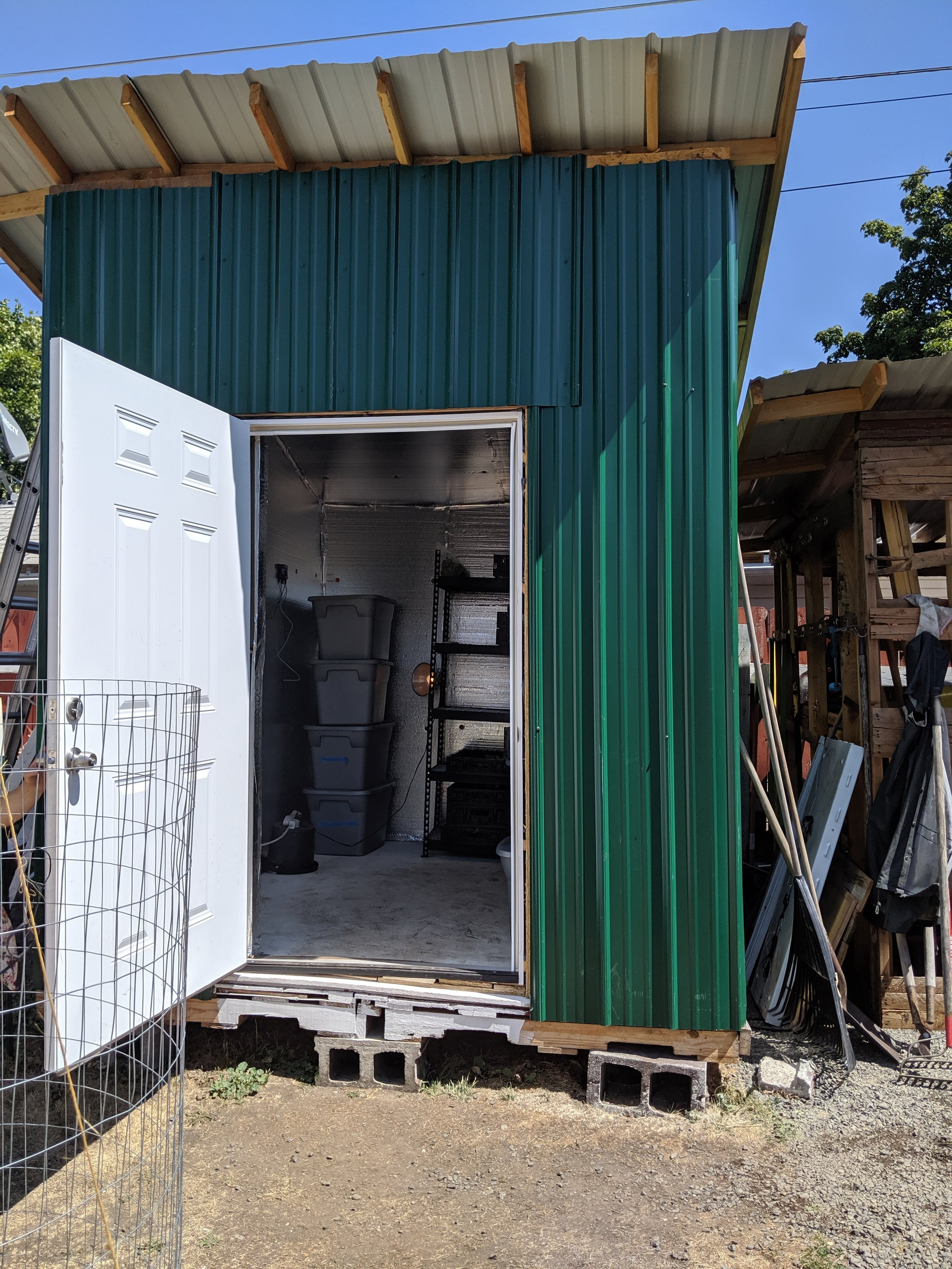 The walk-in cooler was made of almost entirely recycled materials!