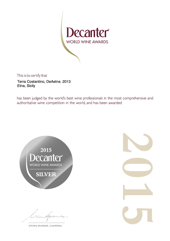 "Terra Costantino DeAetna Etna Rosso DOC 2013 Decanter - ""Silver Medal"" 2015"