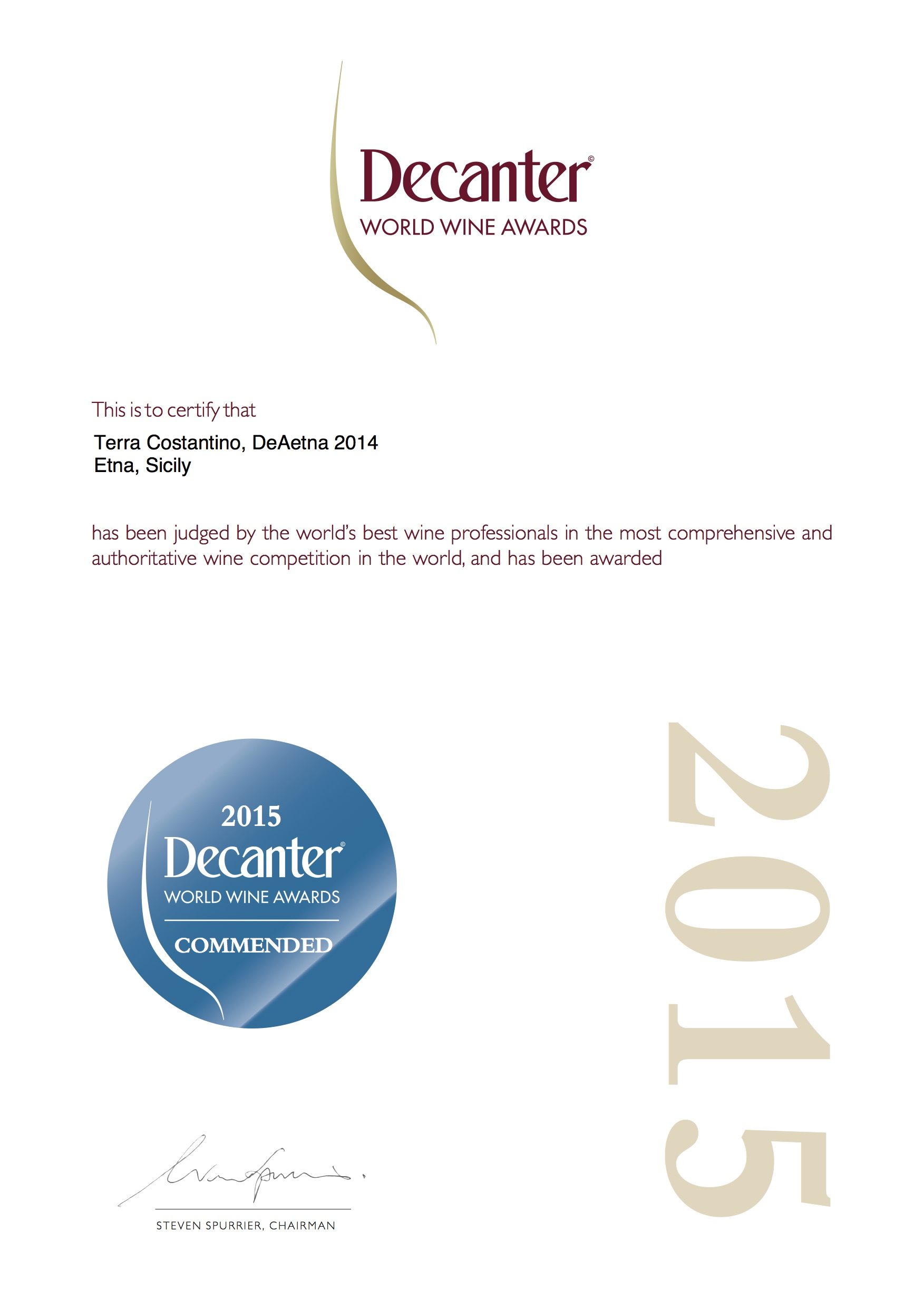 "Terra Costantino DeAetna Etna Bianco DOC2014   Decanter - ""Commended"" 2015"